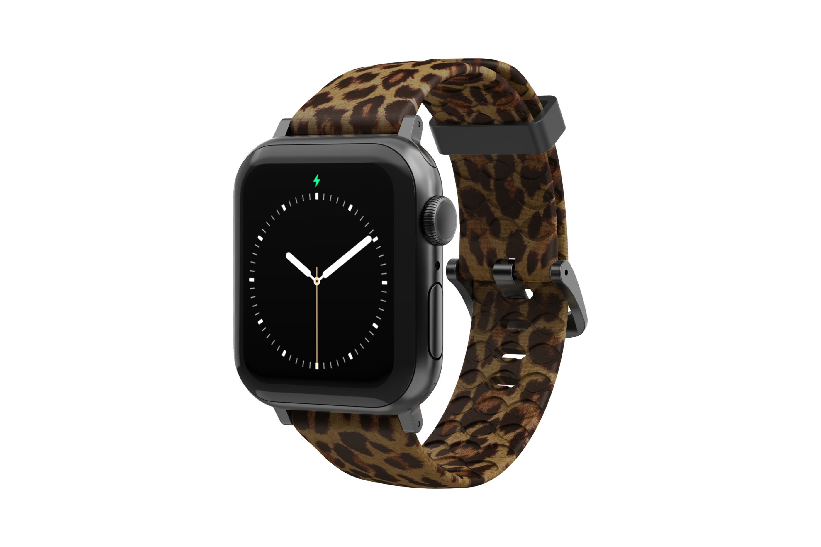 Leopard Apple Watch Band with gray Hardware viewed front on