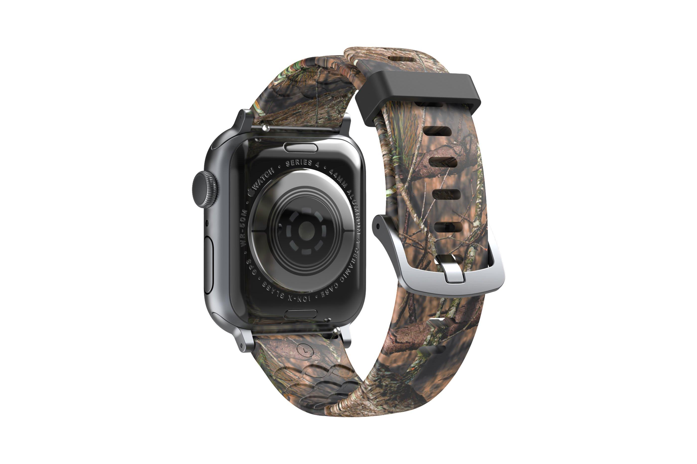 Mossy Oak Breakup Apple Watch Band with silver hardware viewed from rear