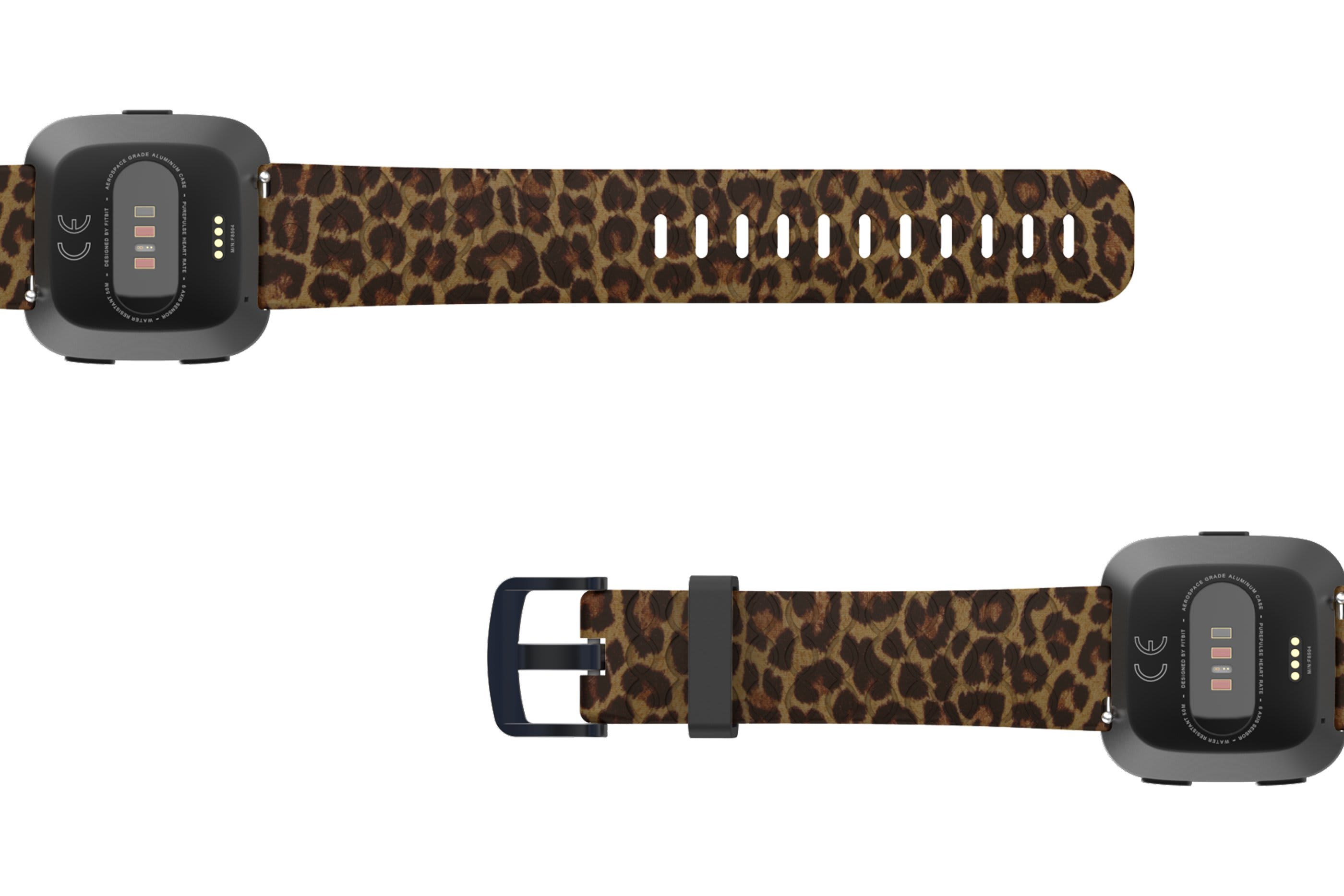 Leopard Fitbit Versa   watch band with gray hardware viewed bottom up