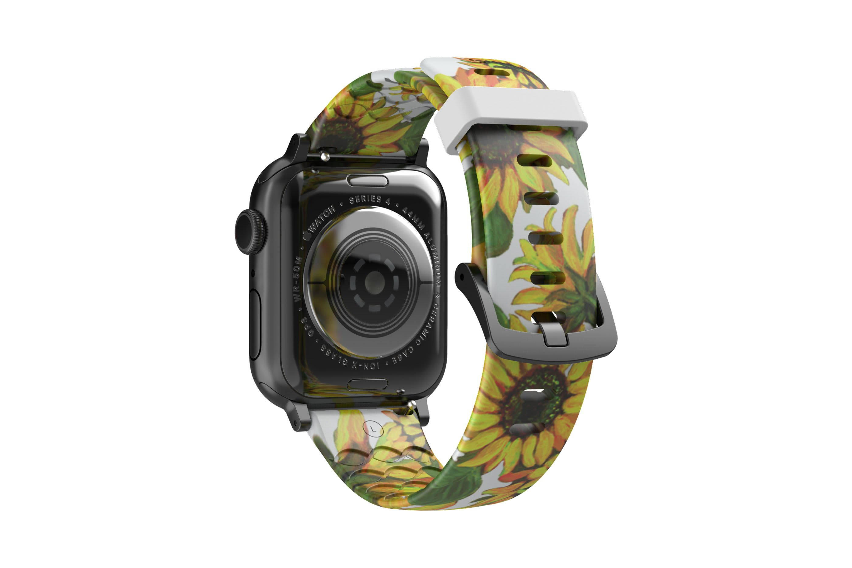 Sunflower Apple Watch Band with gray hardware viewed from top down
