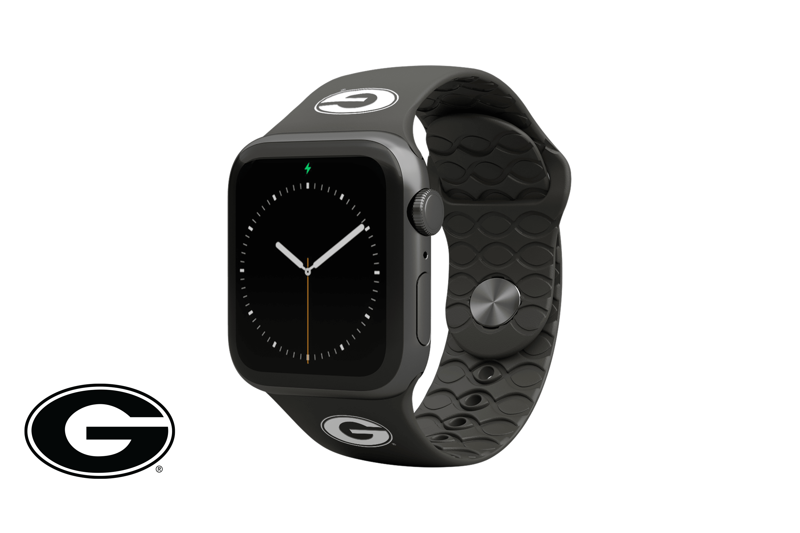 Apple Watch Band College Georgia Black with gray hardware viewed front on