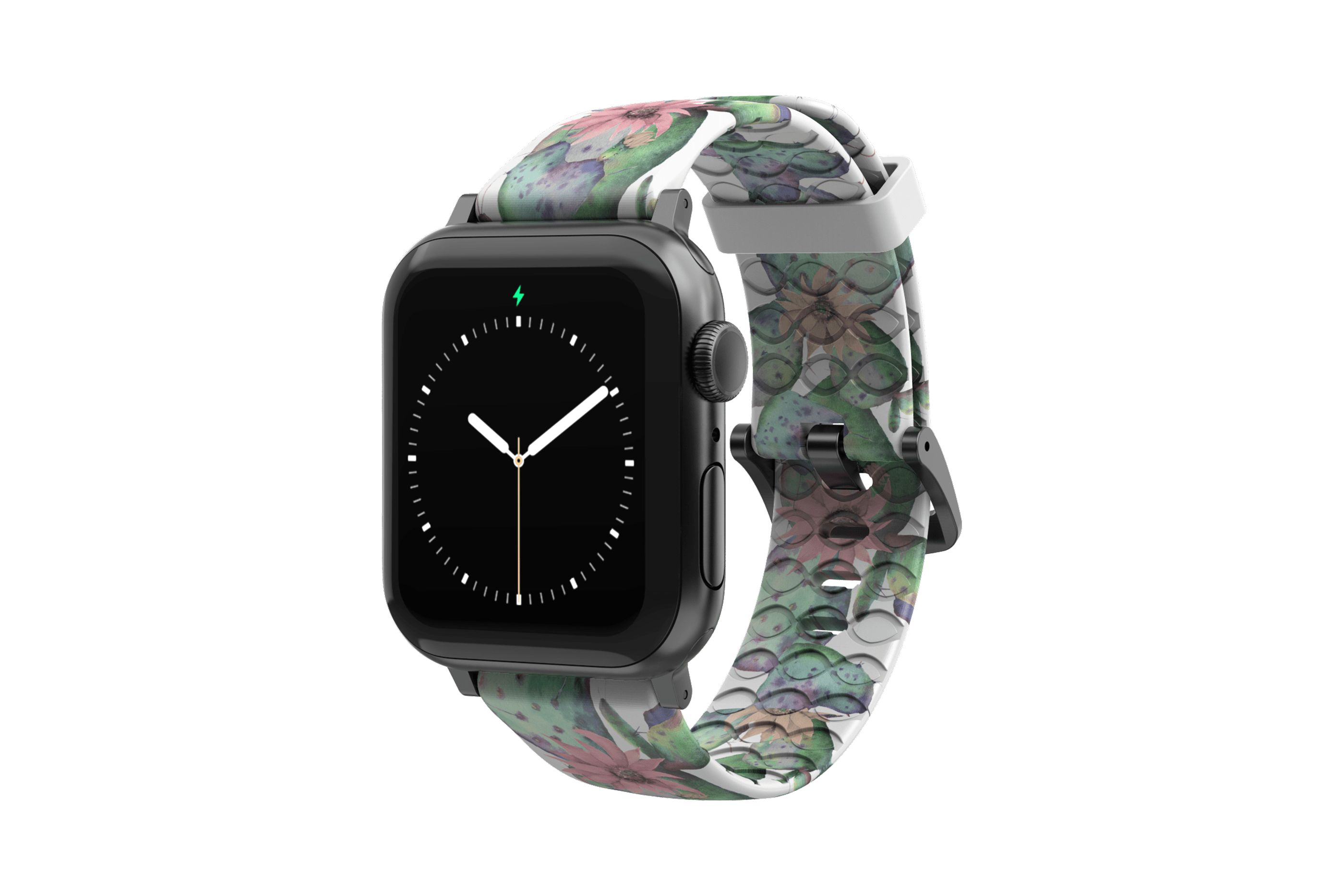 Cactus Bloom Apple Watch Band with gray hardware viewed front on