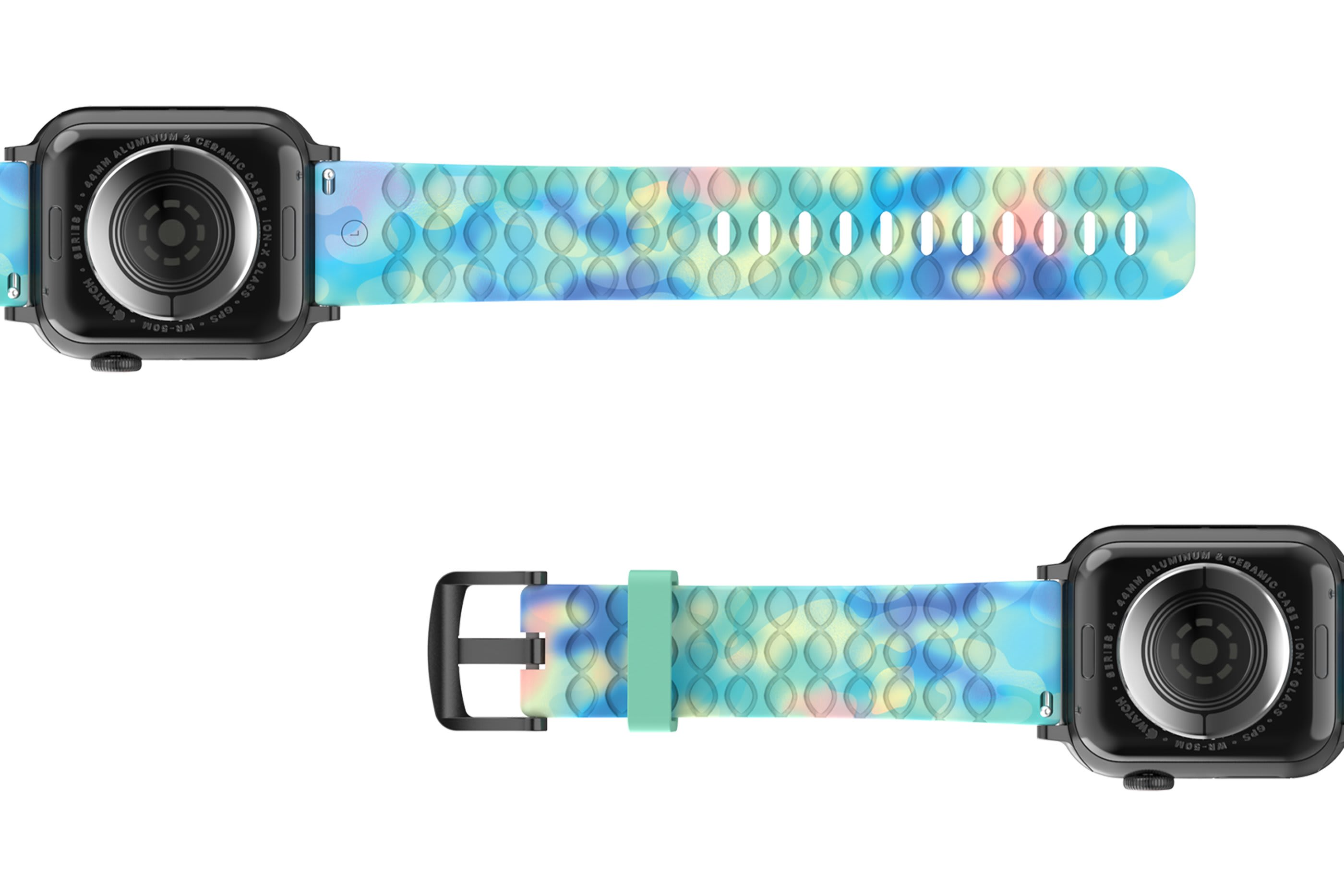 Opal - Apple   watch band with gray hardware viewed bottom up