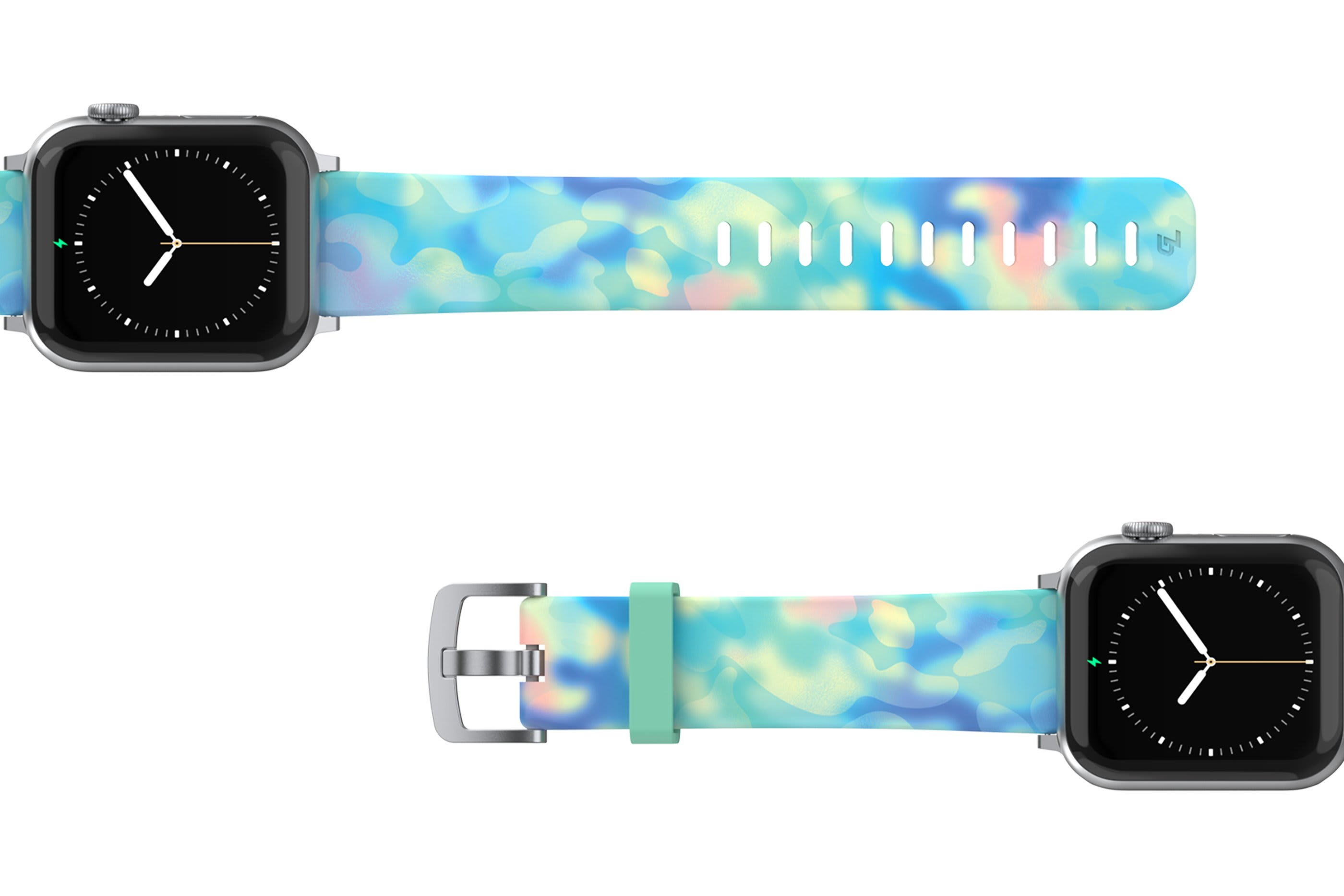 Opal - Apple watch band with silver hardware viewed top down