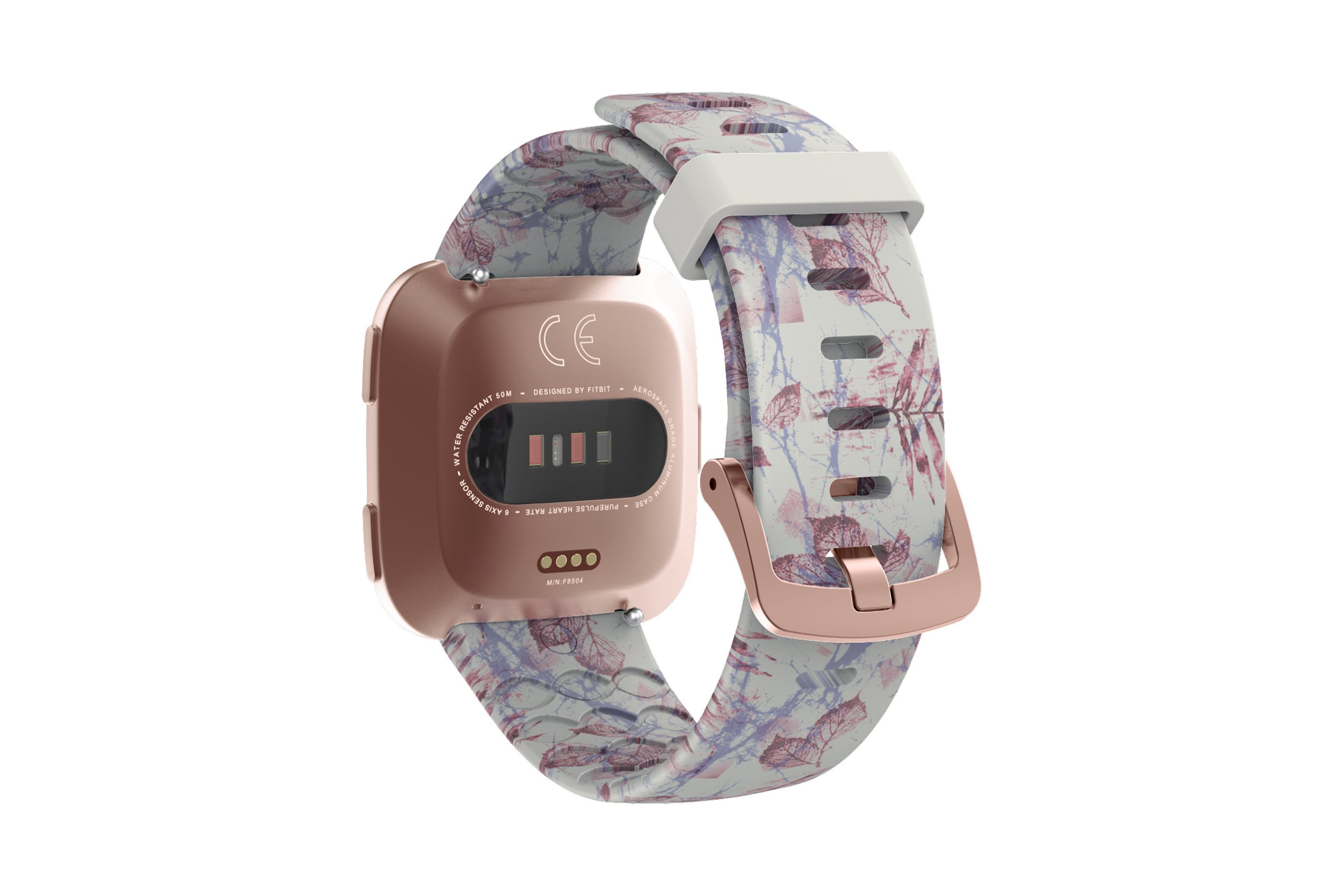 Breeze fitbit versa watch band with rose gold hardware viewed from top down