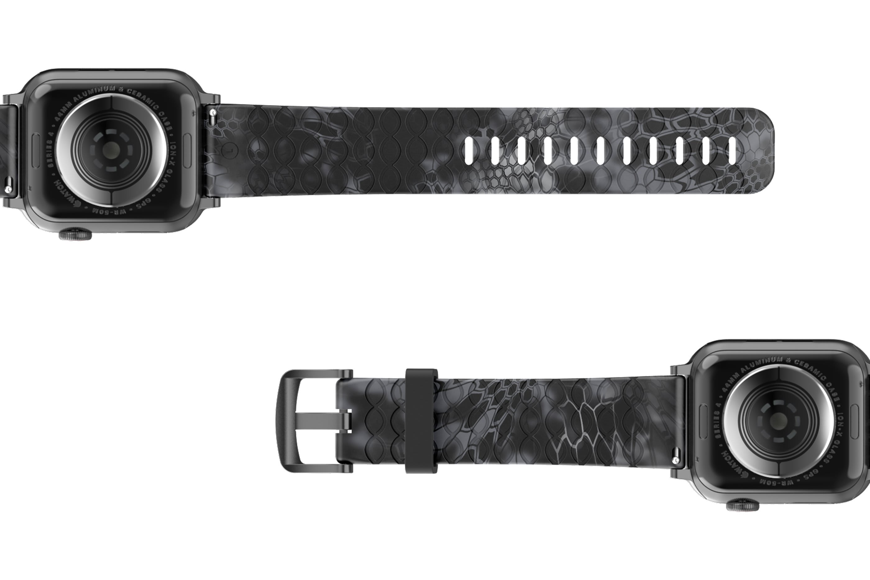 Kryptek Typhon Apple Watch Band with gray hardware viewed bottom up
