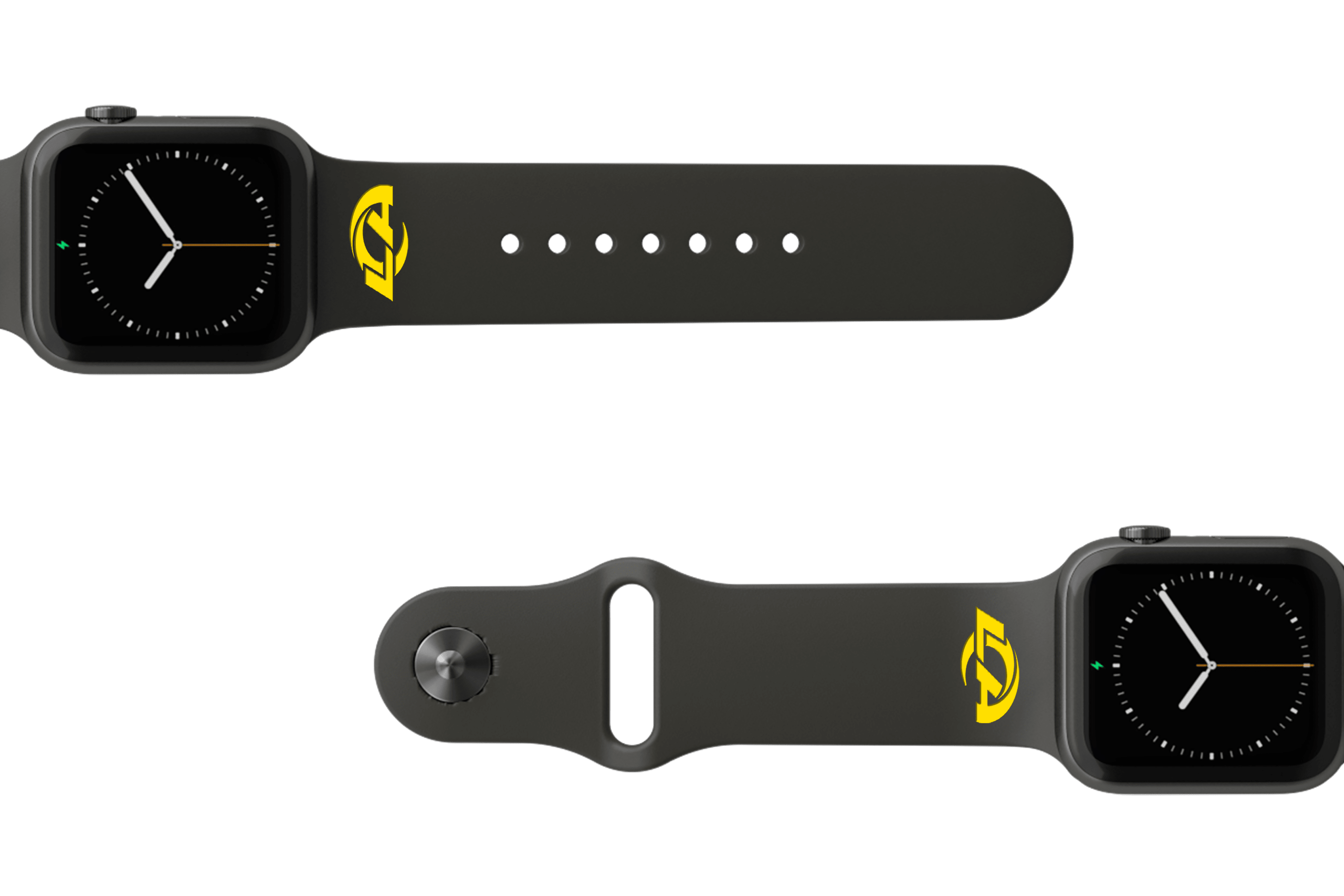 NFL Los Angeles Rams Black   apple watch band with gray hardware viewed from top down