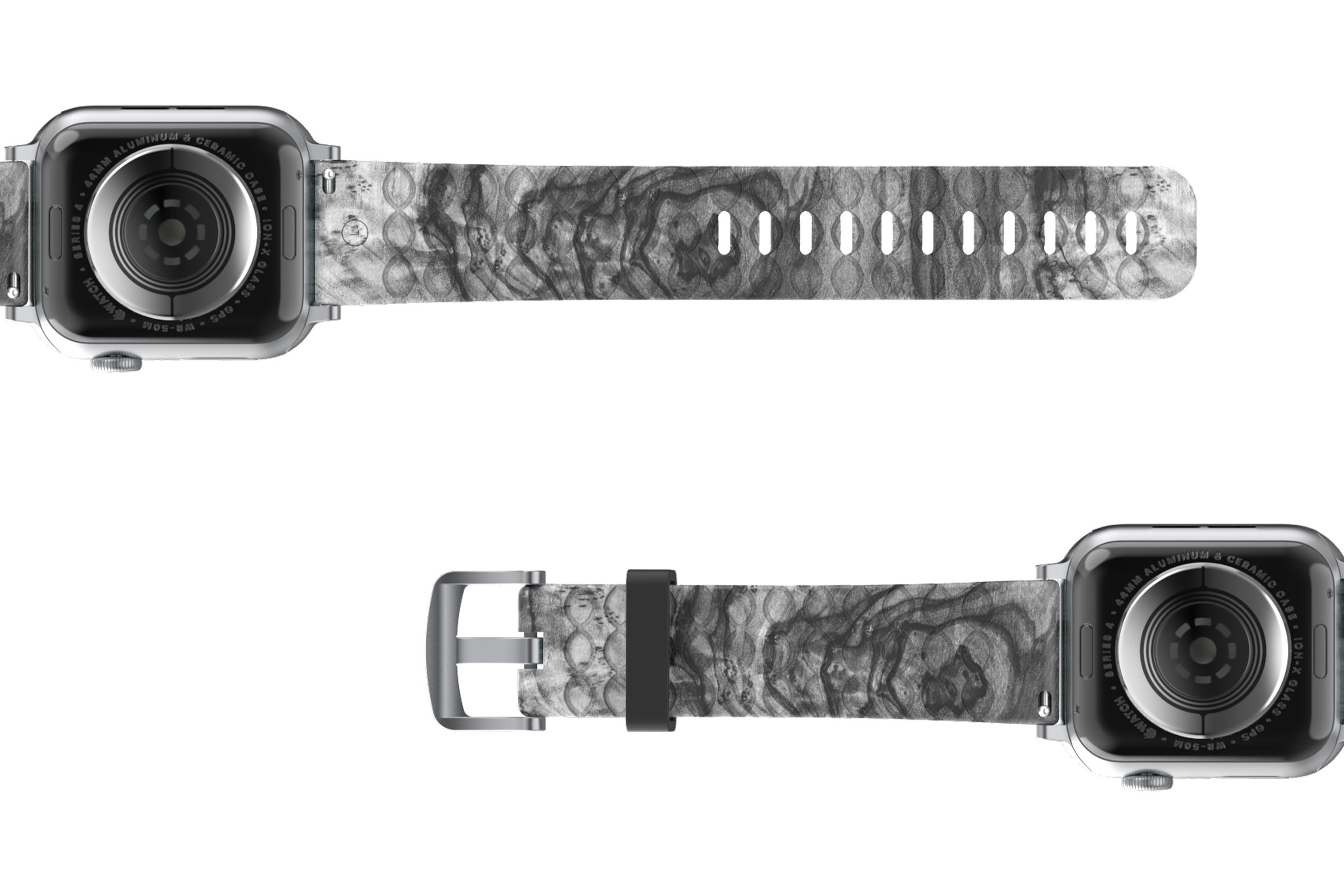 Nomad Relic Apple Watch Band with silver hardware viewed bottom up