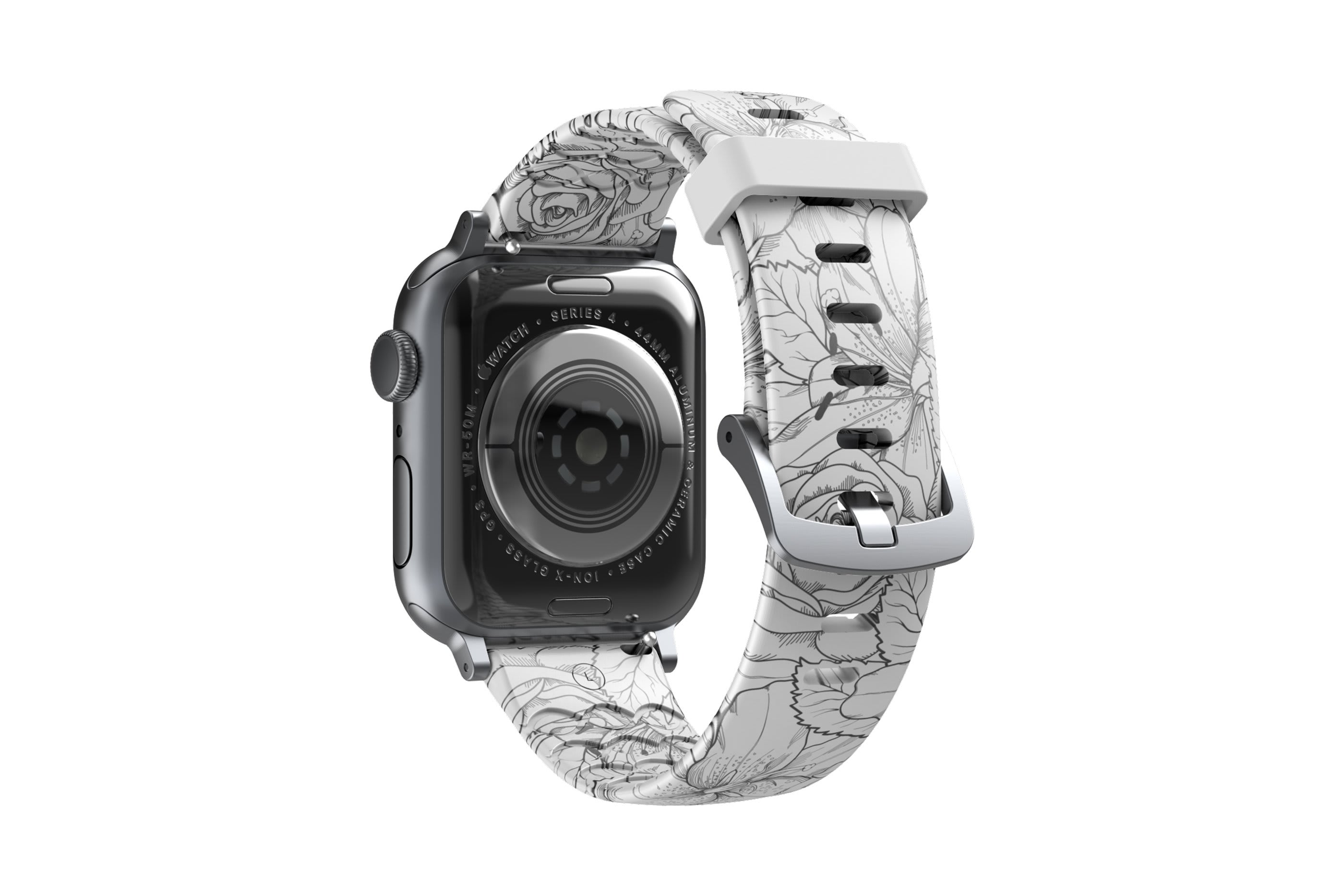 Winter Rose Apple Watch Band with silver hardware viewed from rear