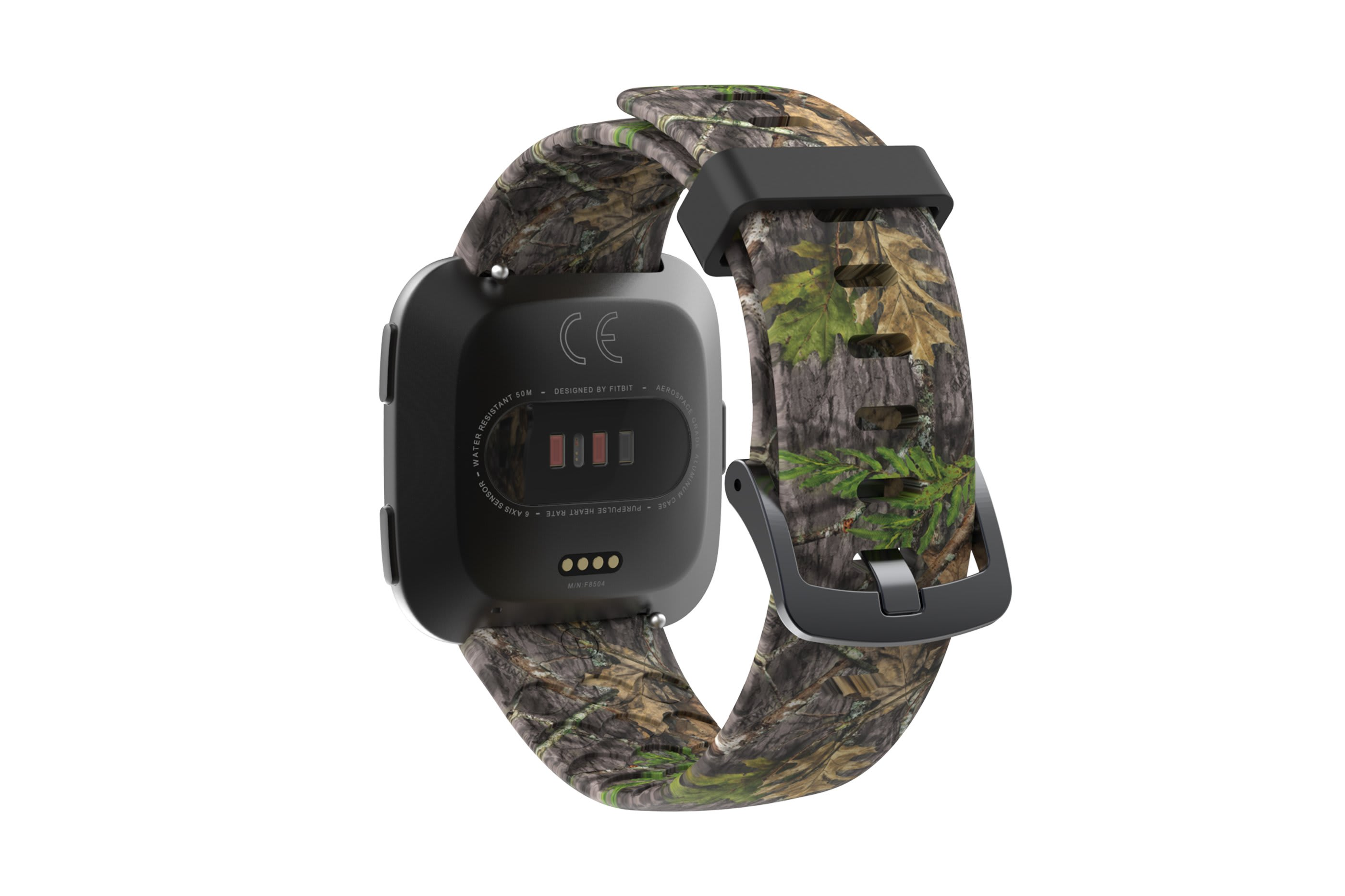 NWTF Mossy Oak Obsession fitbit versa watch band with gray hardware viewed from rear