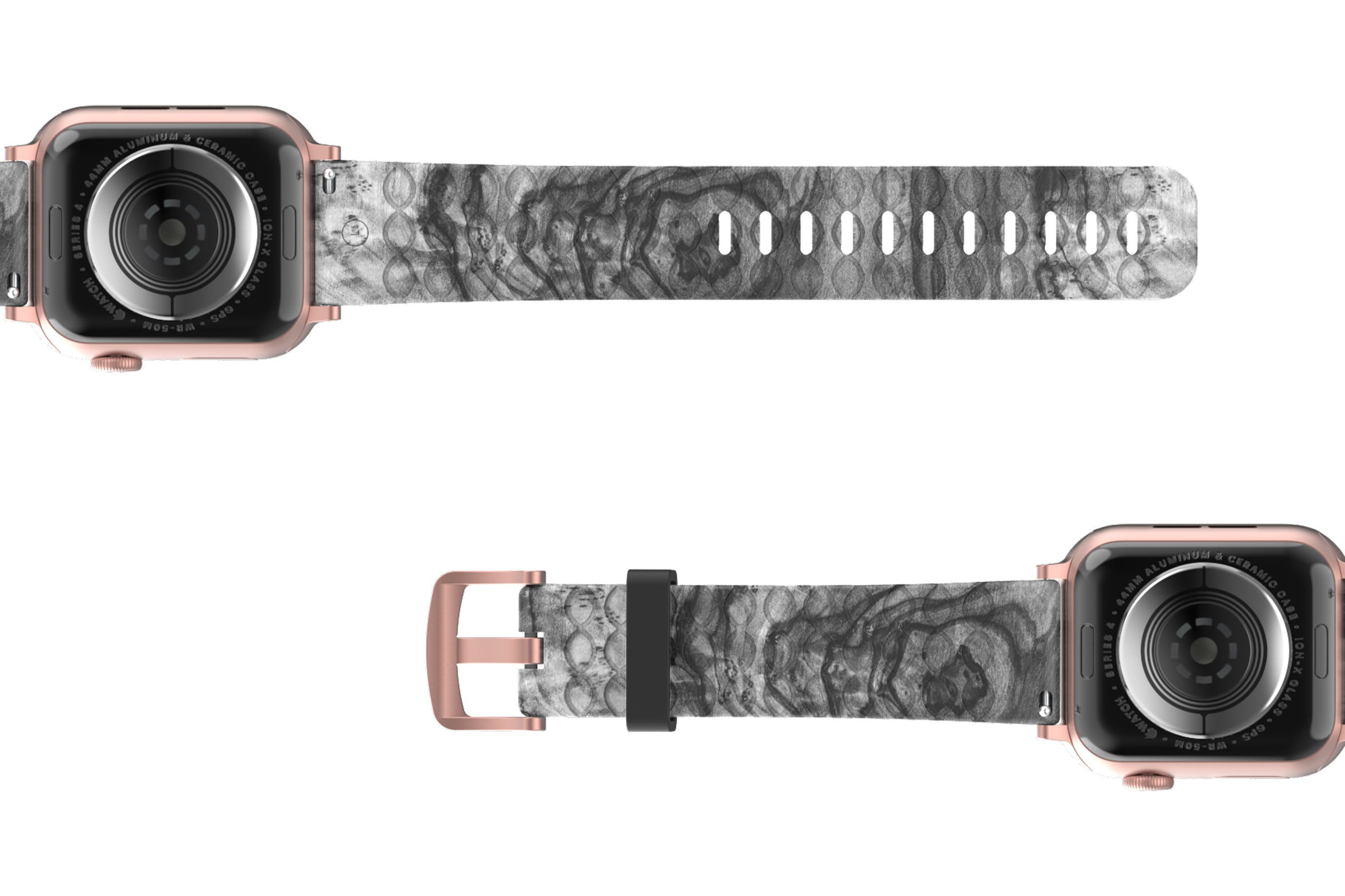 Nomad Relic Apple Watch Band with rose gold hardware viewed bottom up