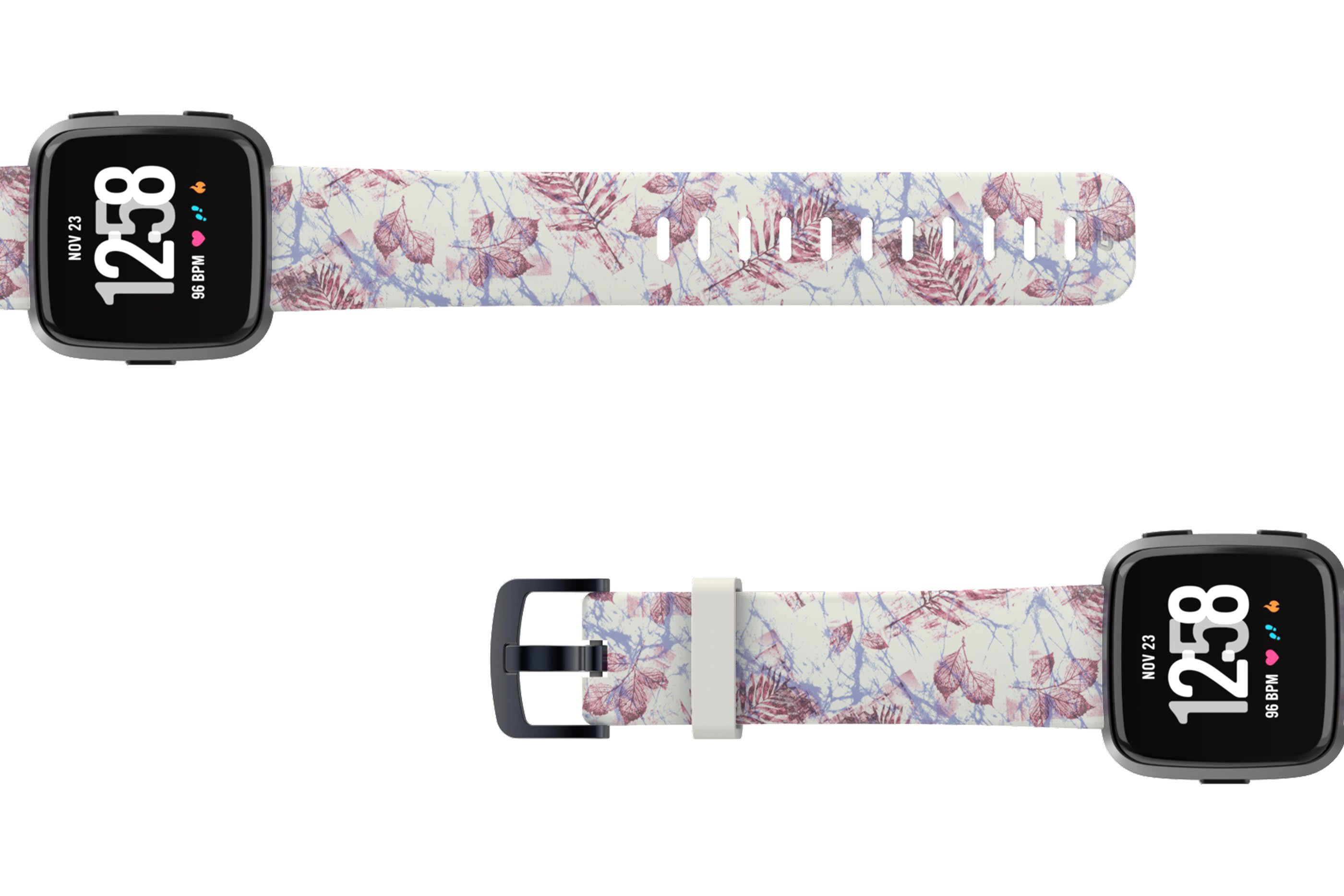 Breeze Fitbit Versa watch band with gray hardware viewed top down