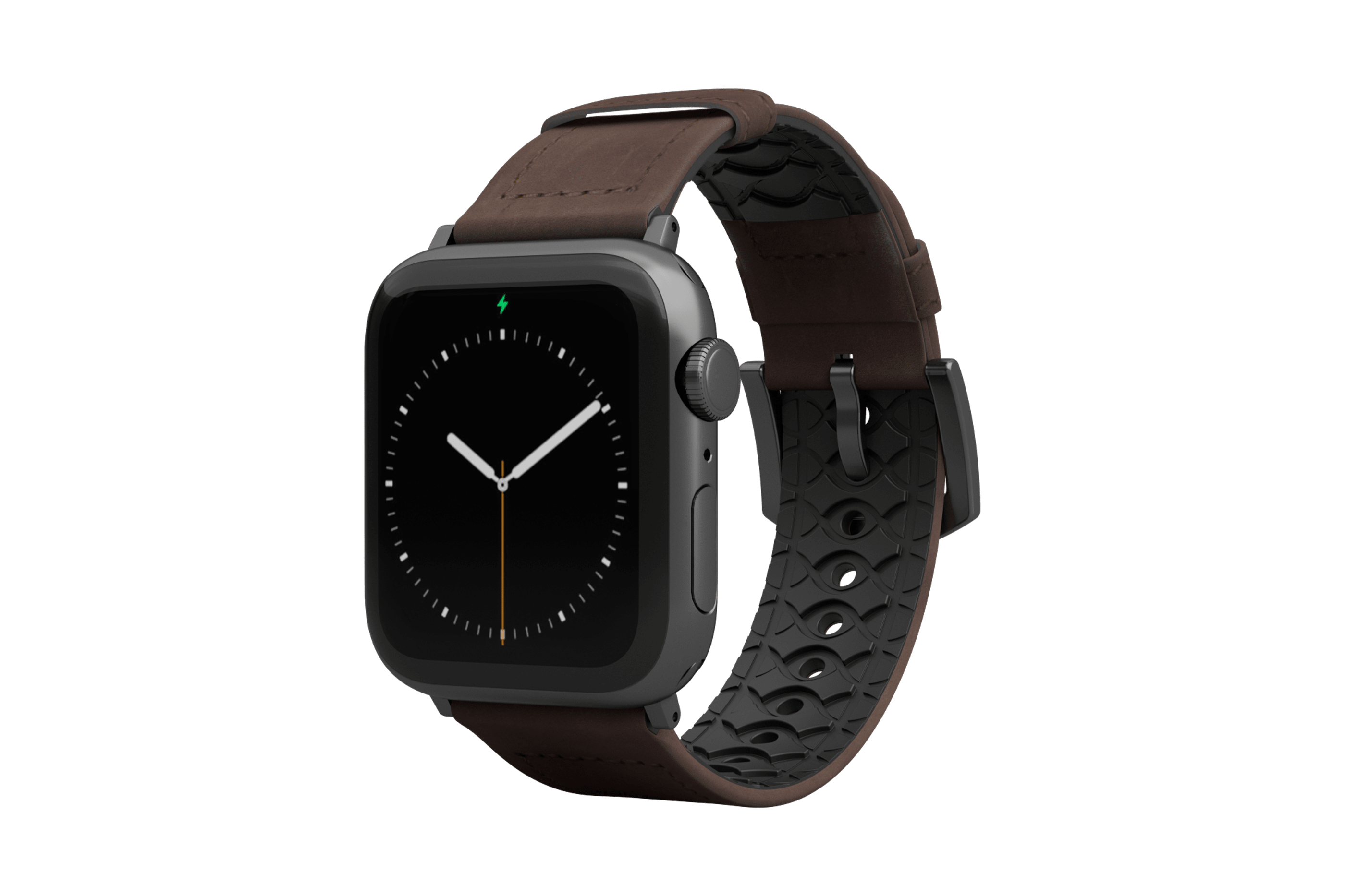 Vulcan Ascent Leather Apple Watch Band with gray hardware viewed front on