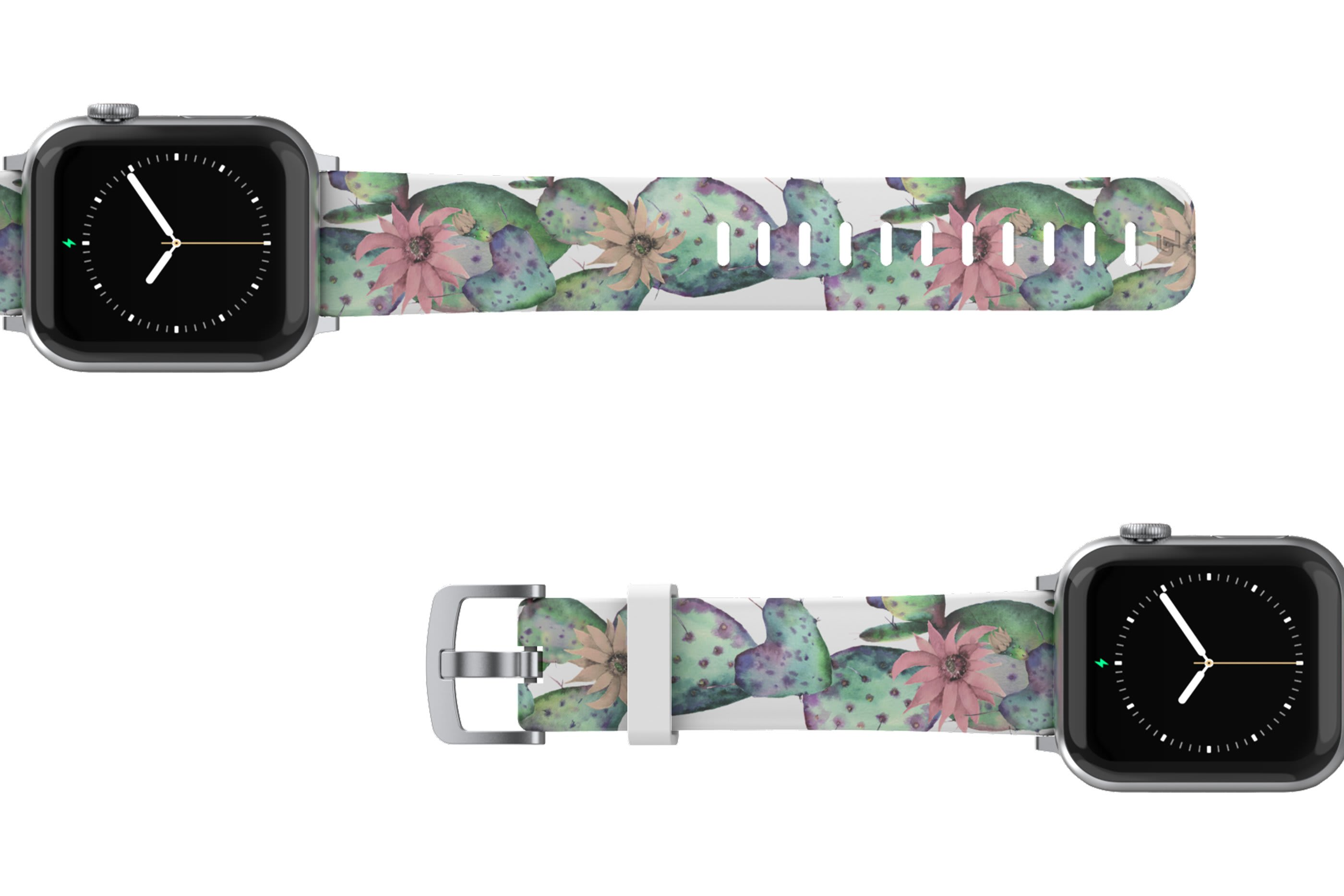 Cactus Bloom Apple Watch Band with silver hardware viewed top down