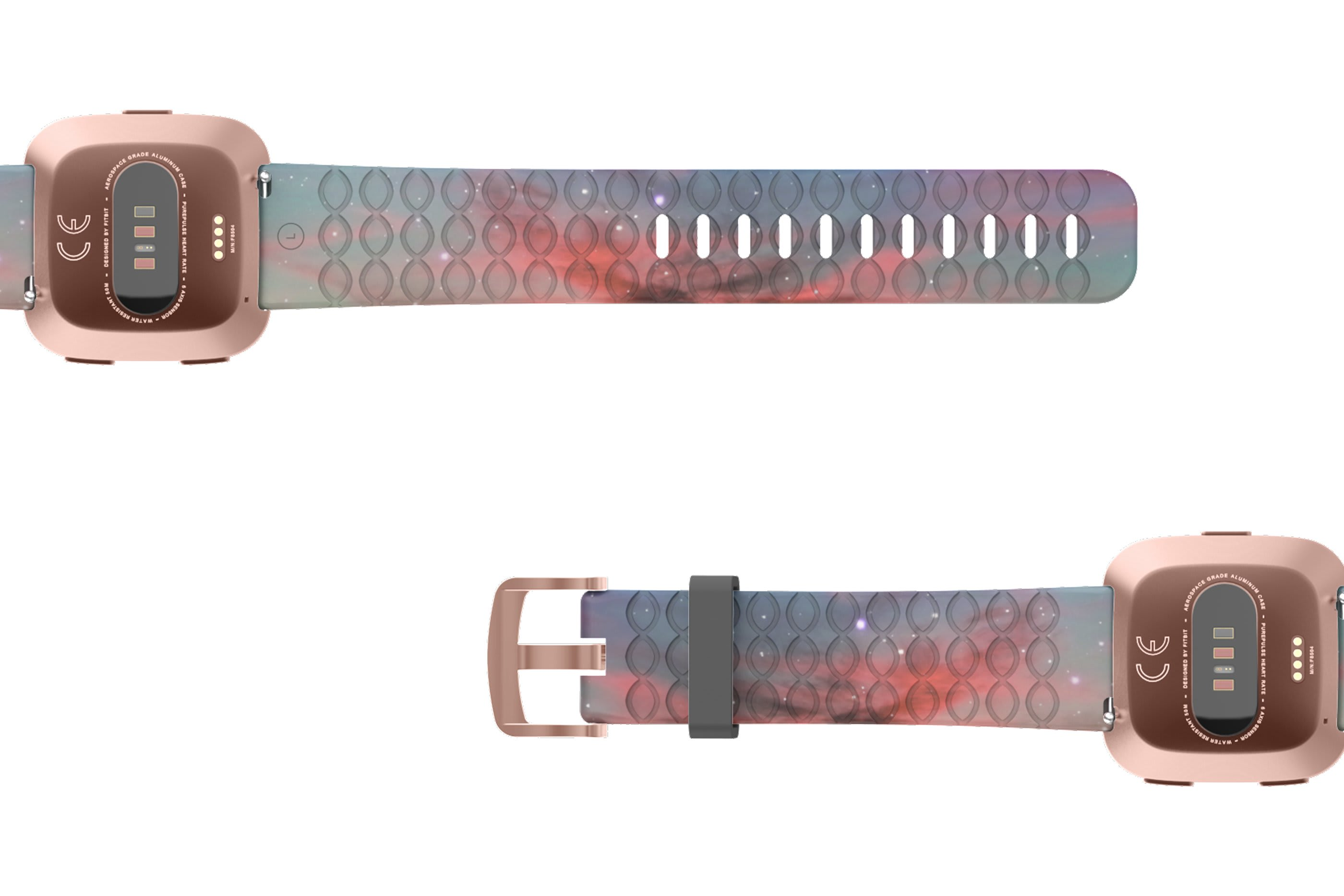 Cirrus Fitbit Versa   watch band with rose gold hardware viewed bottom up
