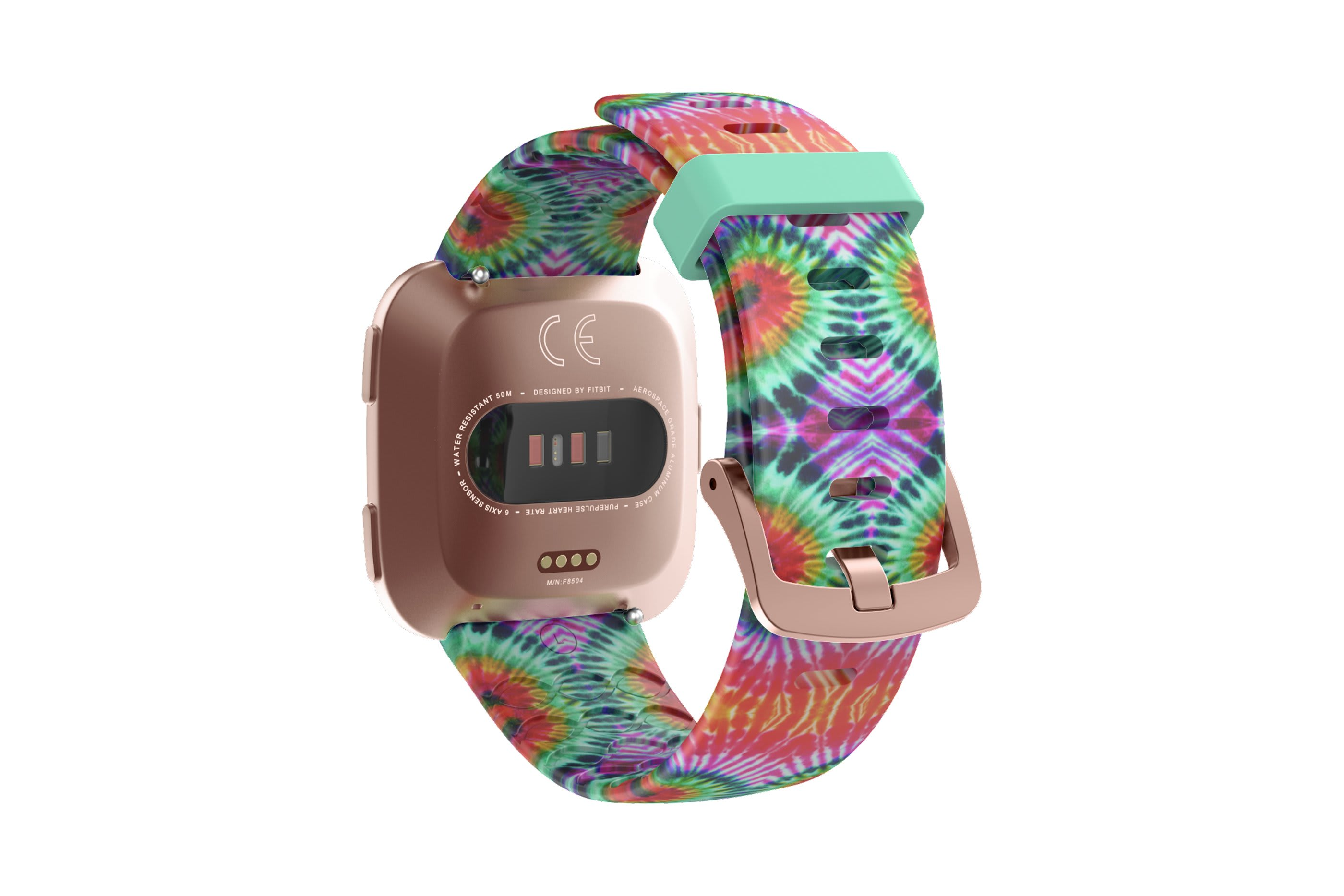 Gypsy Eyes fitbit versa watch band with rose gold hardware viewed from top down