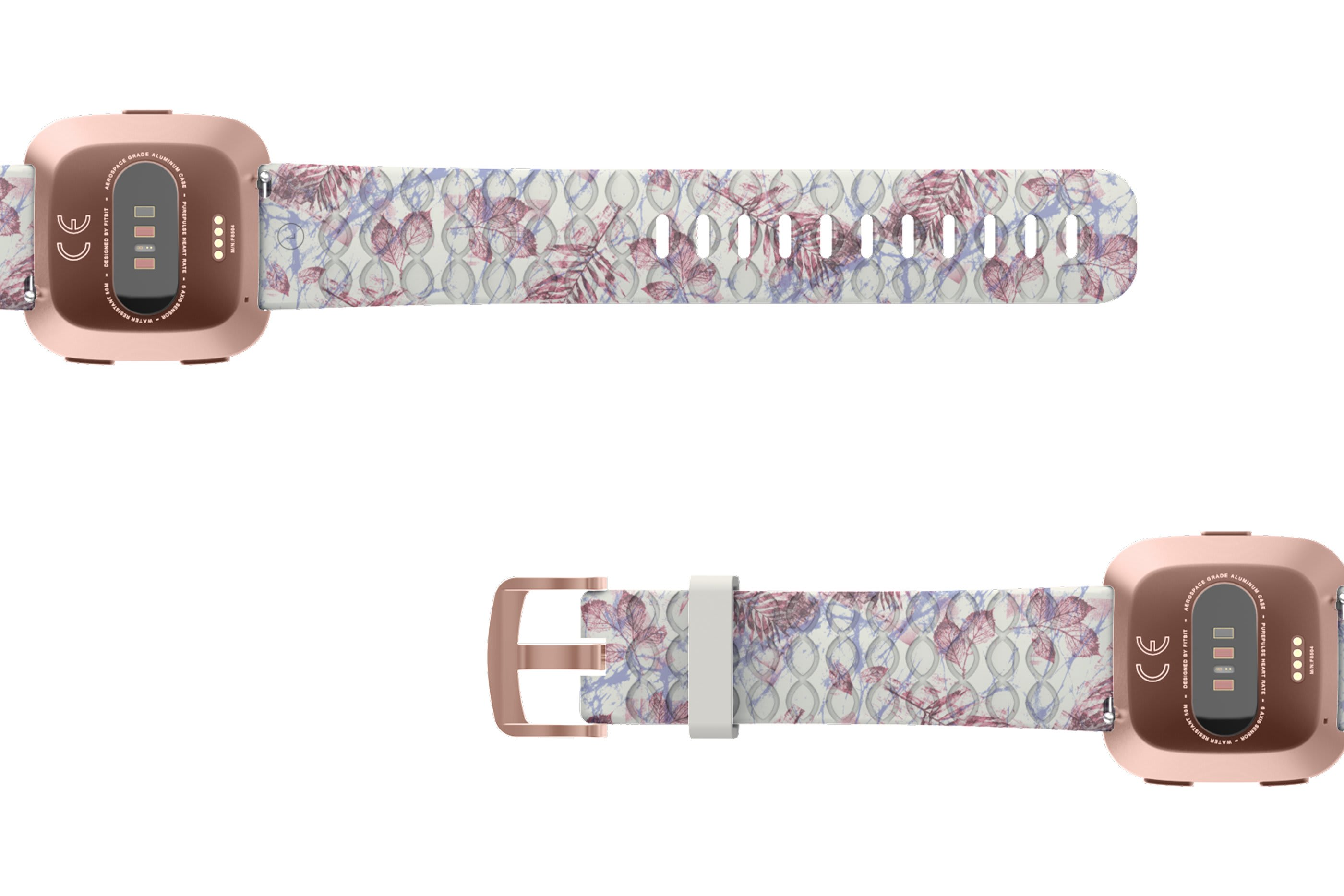 Breeze Fitbit Versa   watch band with rose gold hardware viewed bottom up