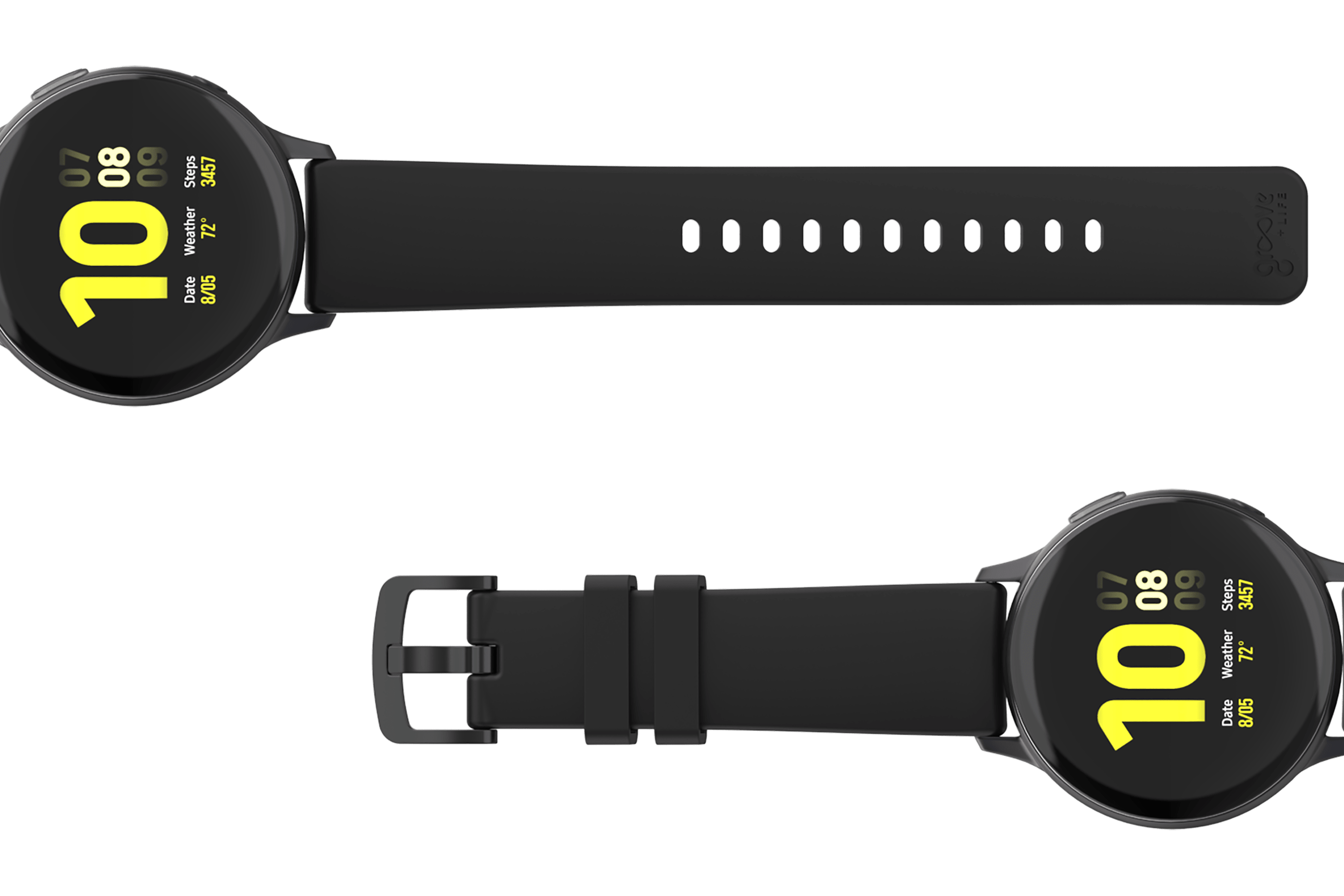 Solid Black 20mm watch band viewed top down