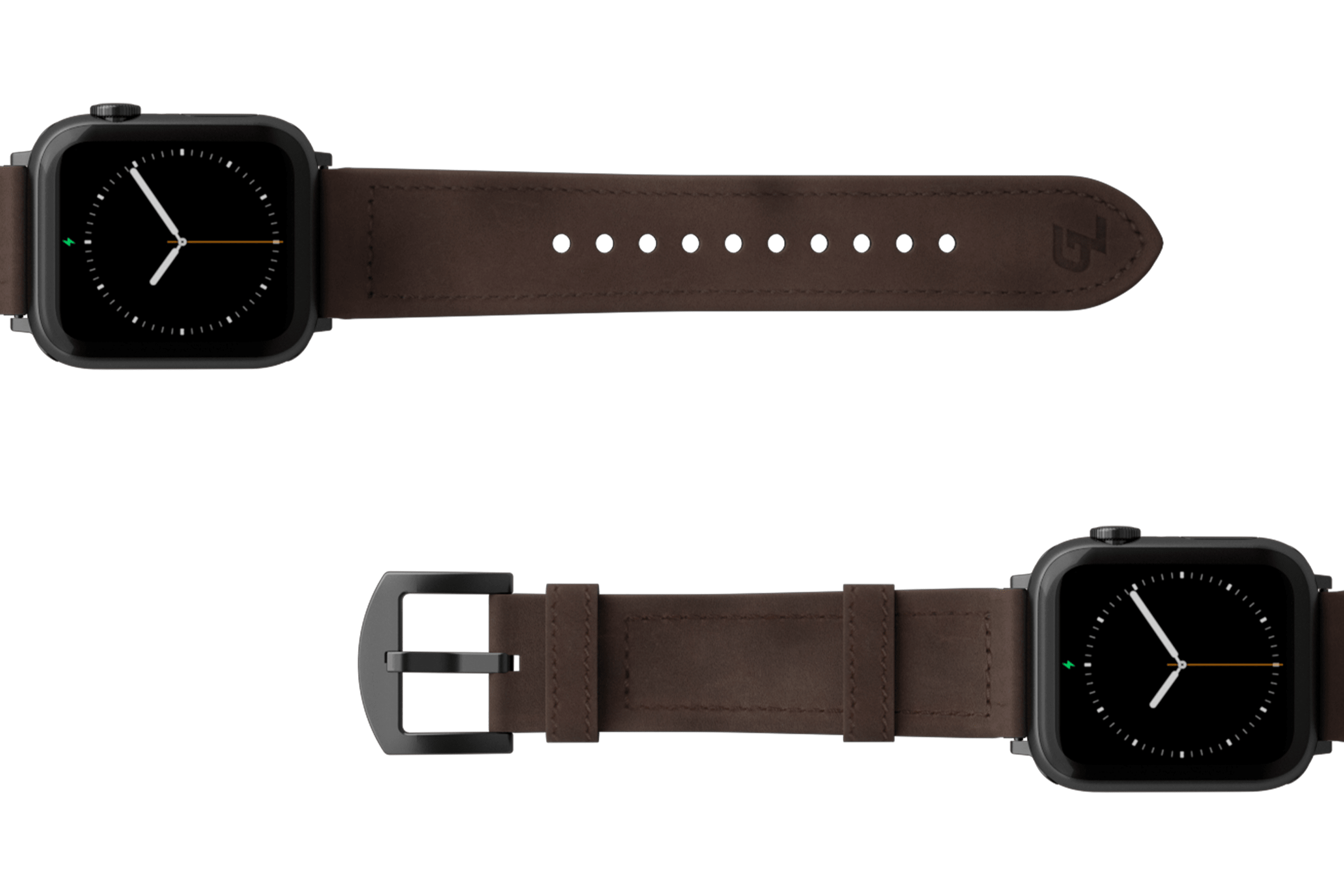 Vulcan Ascent Leather Apple watch band  with gray hardware viewed top down