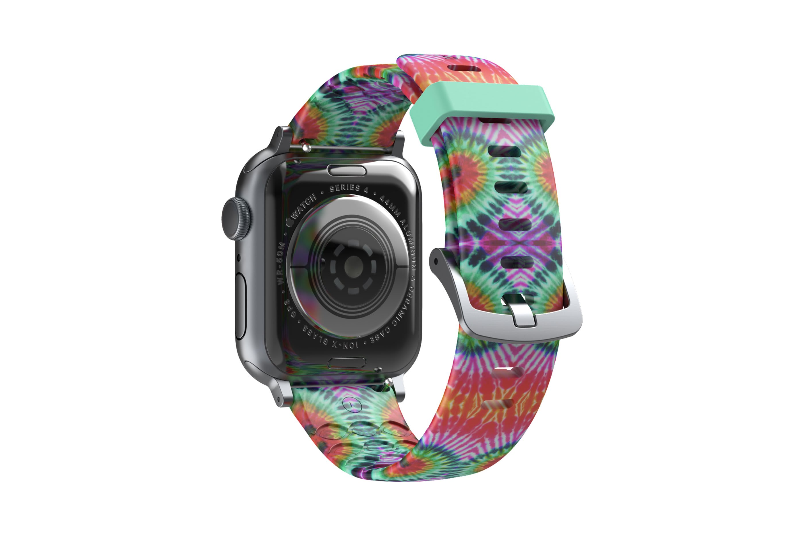 Gypsy Eyes  apple watch band with silver hardware viewed from top down