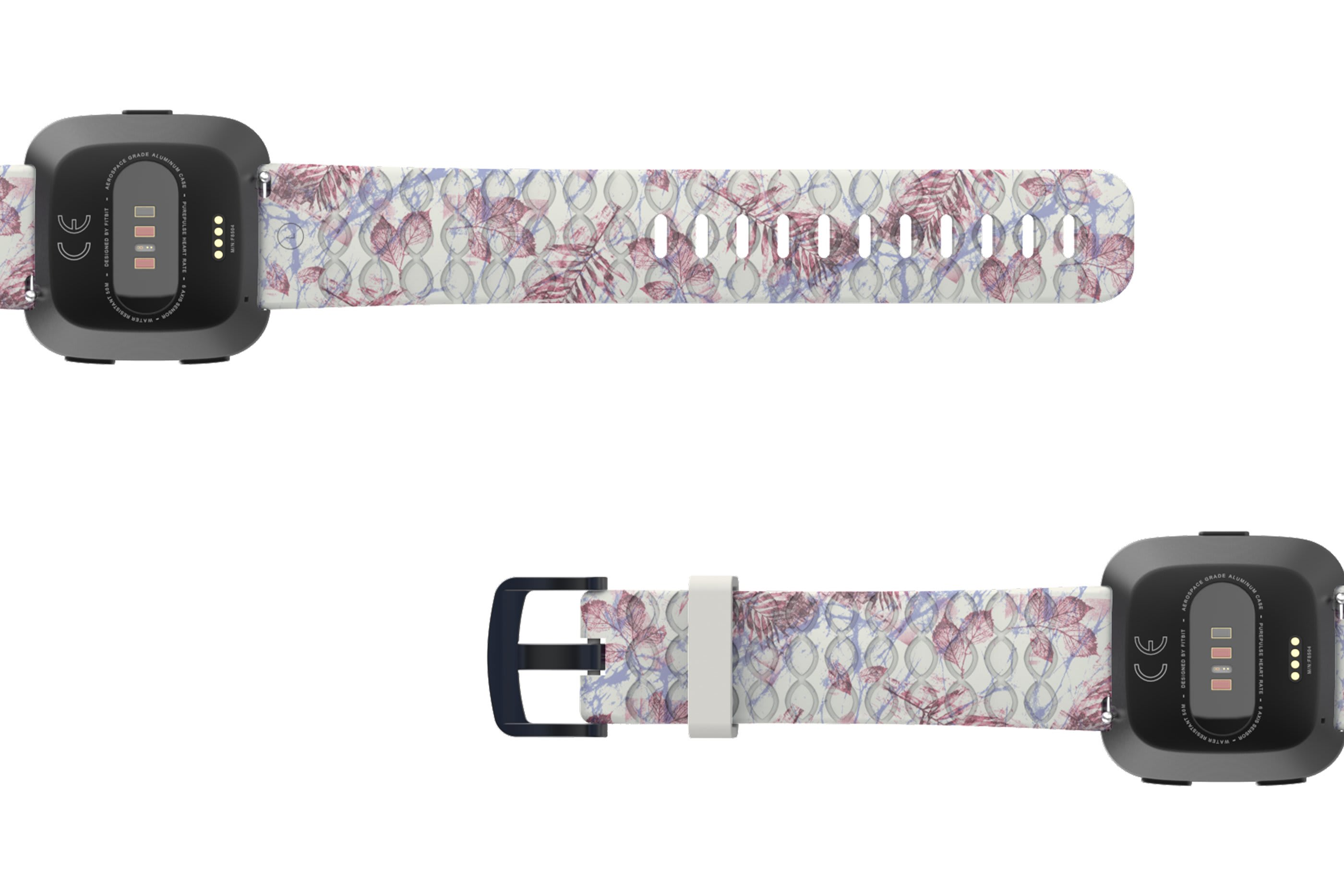 Breeze Fitbit Versa   watch band with gray hardware viewed bottom up