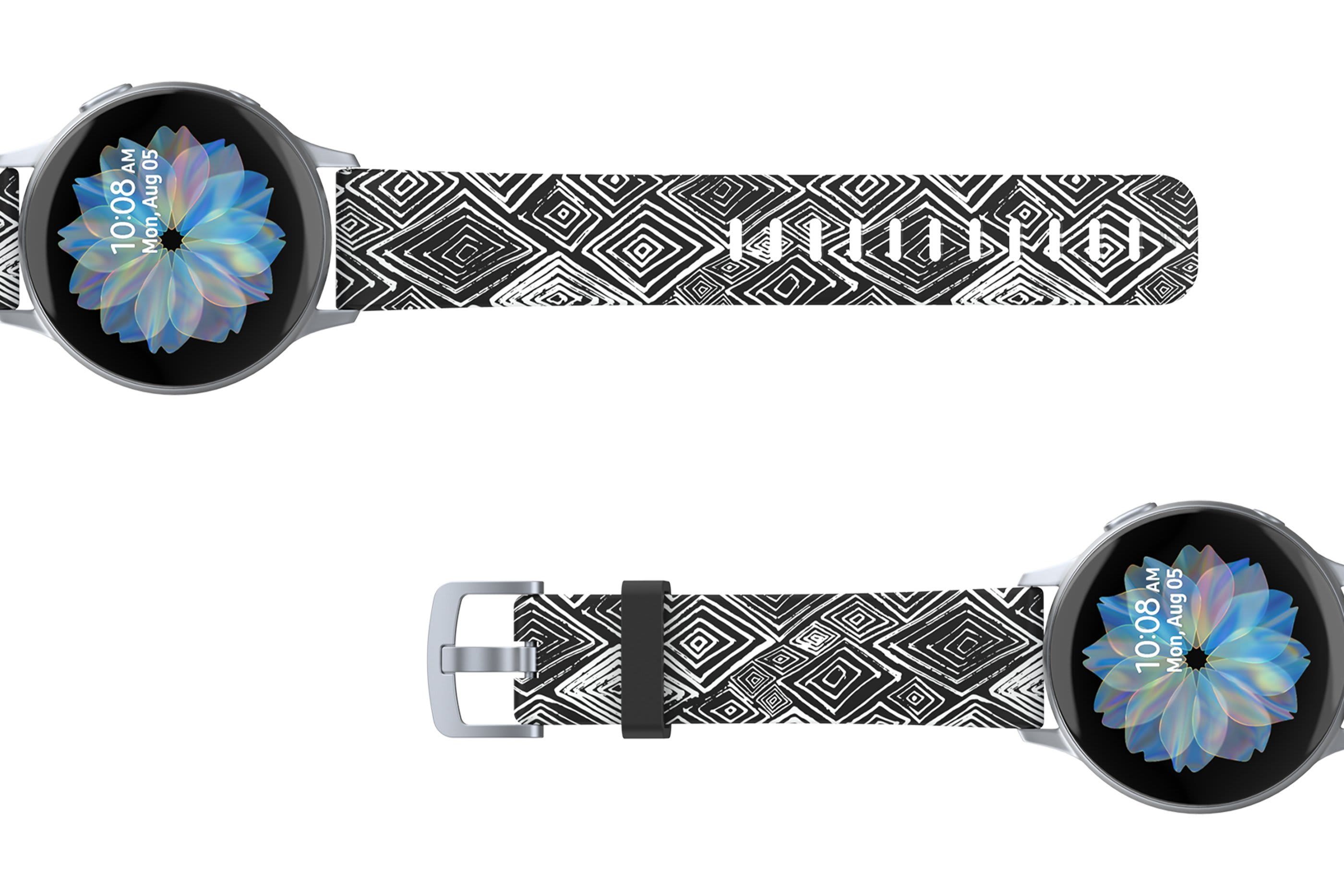 Folklore - Samsung 22mm watch band with silver hardware viewed top down