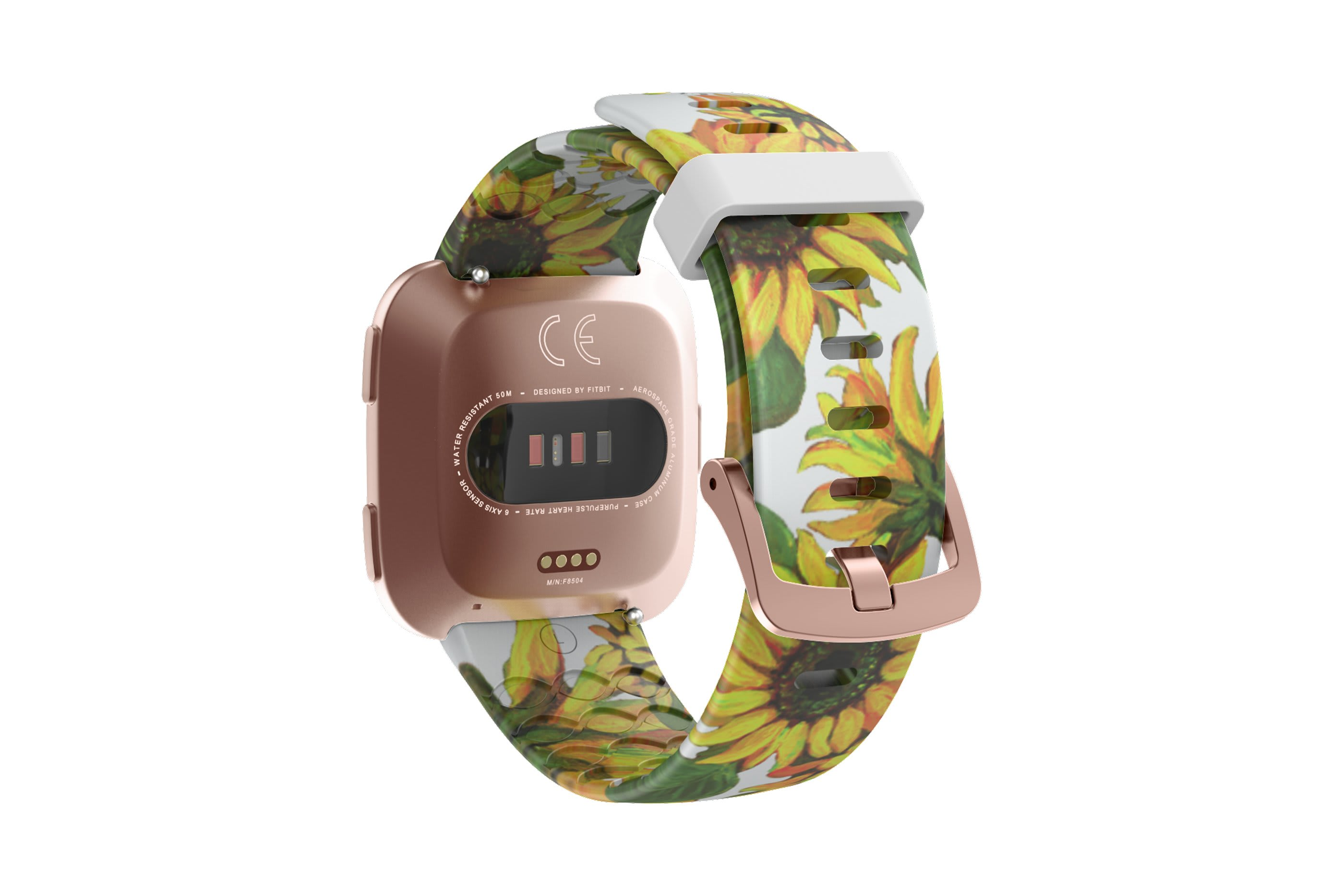 Sunflower fitbit versa watch band with rose gold hardware viewed from top down