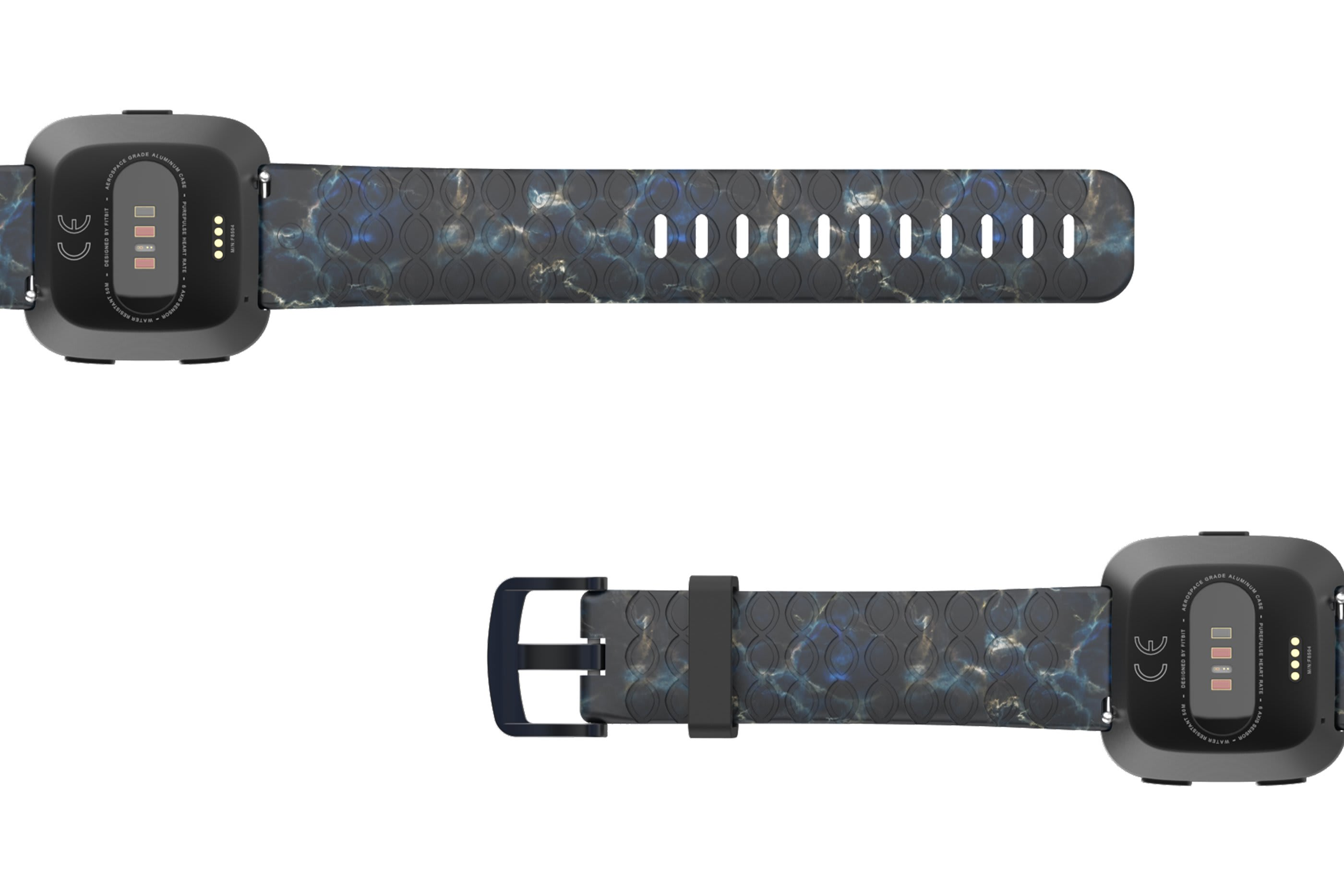 Nomad Rapids Fitbit Versa   watch band with gray hardware viewed bottom up