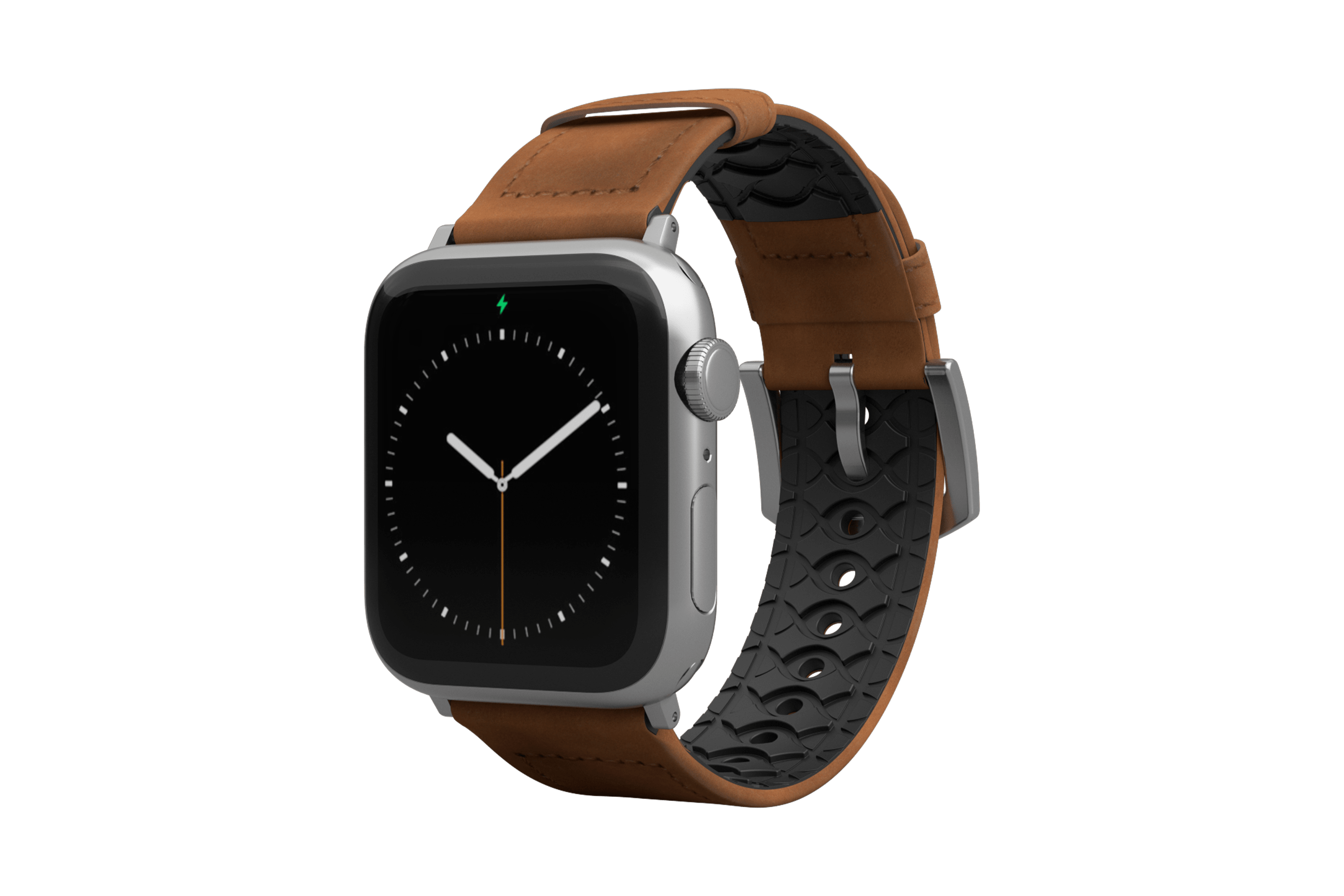 Vulcan Trek Leather Apple Watch Band with silver hardware viewed front on