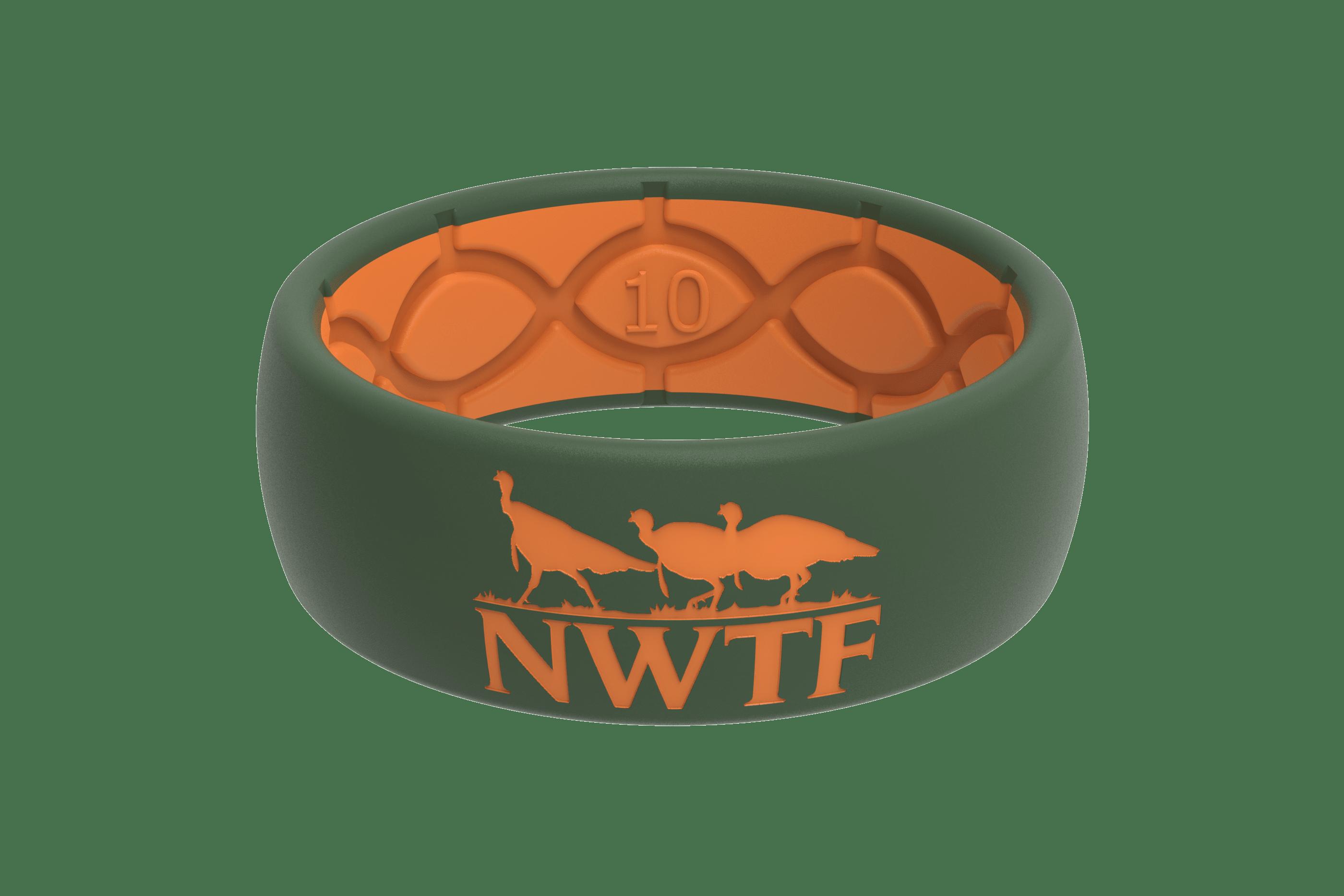 Original NWTF Moss Green Orange Logo  viewed front on