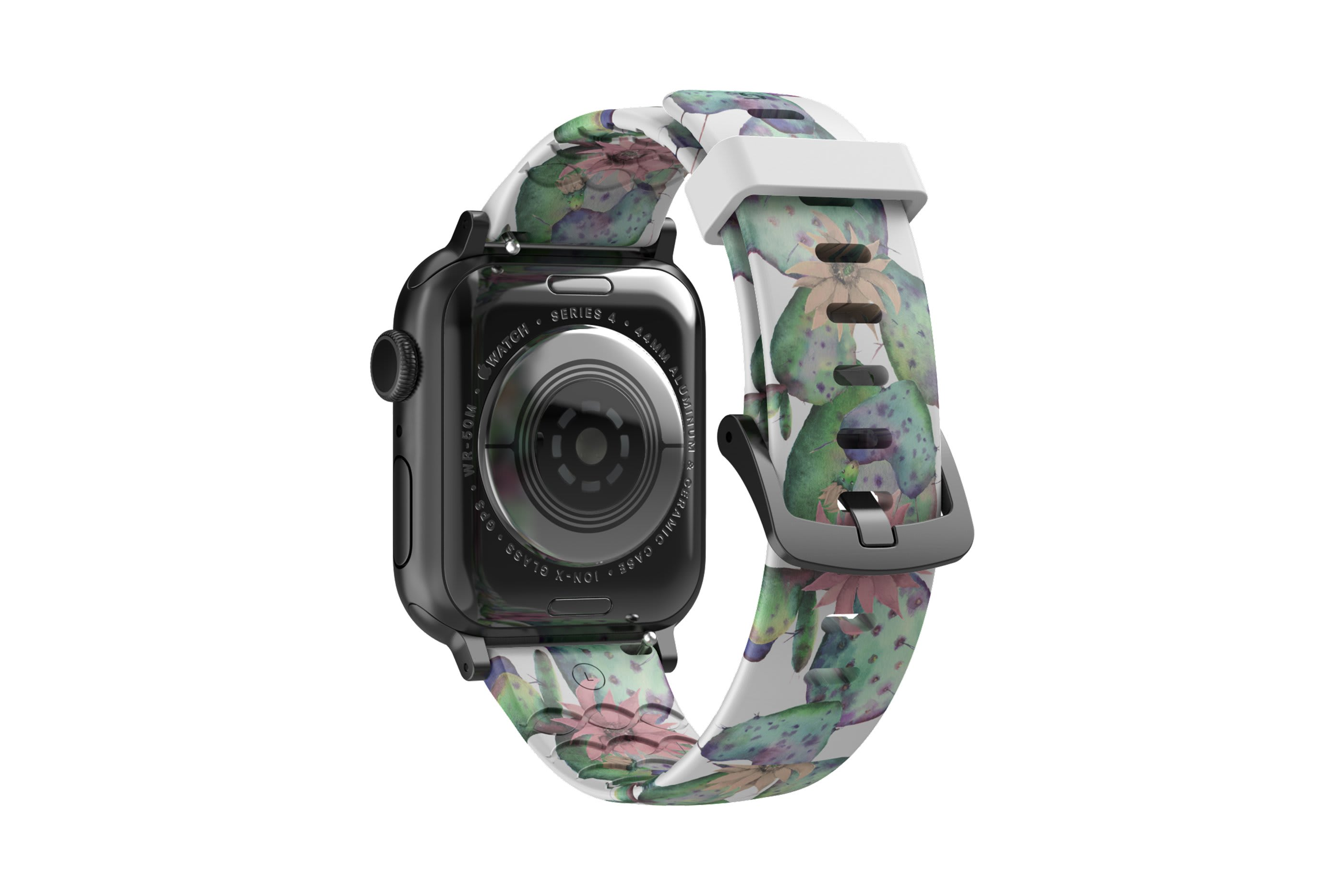 Cactus Bloom Apple Watch Band with gray hardware viewed from top down