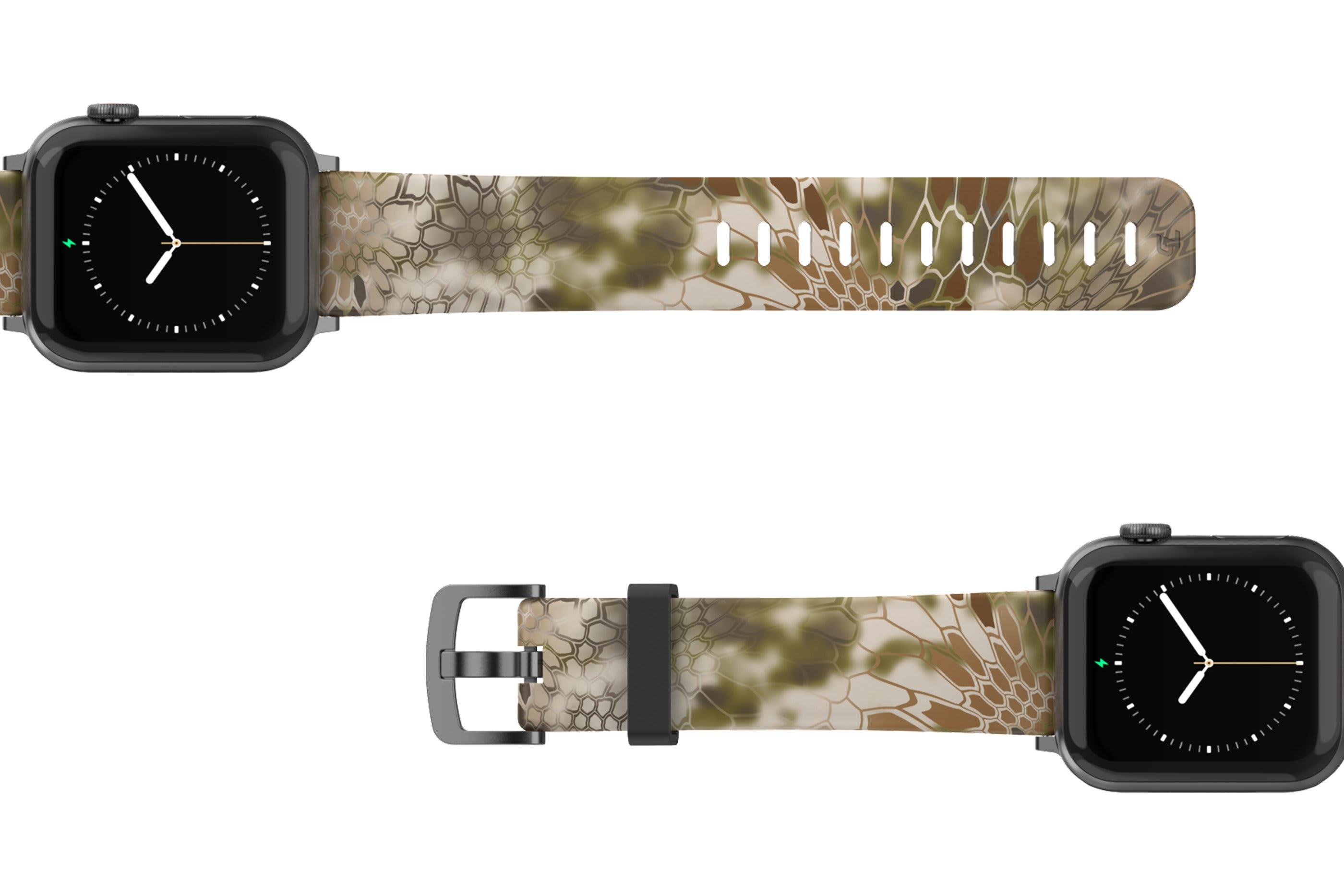 Kryptek Highlander Apple Watch Band with gray hardware viewed top down