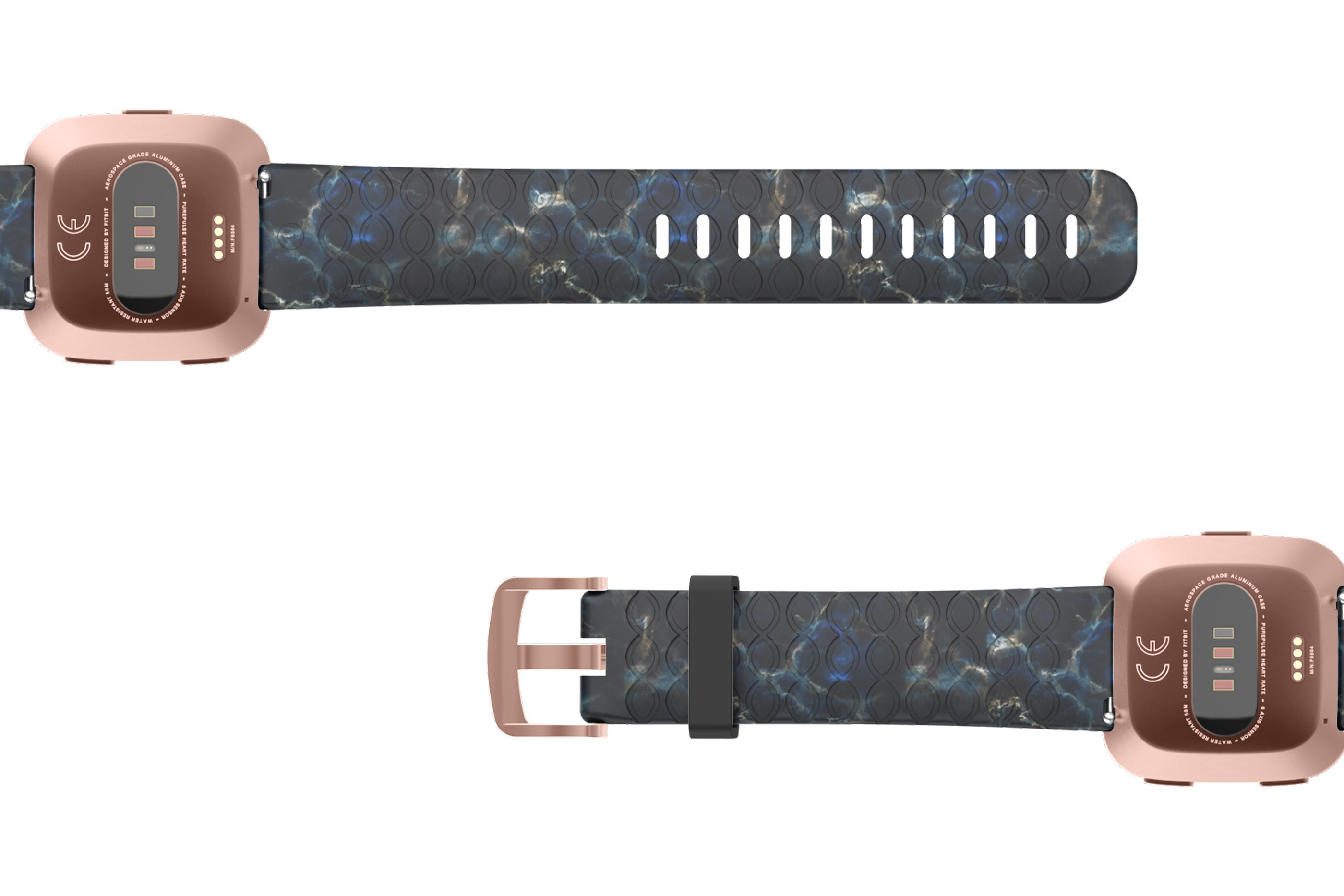 Nomad Rapids Fitbit Versa   watch band with rose gold hardware viewed bottom up
