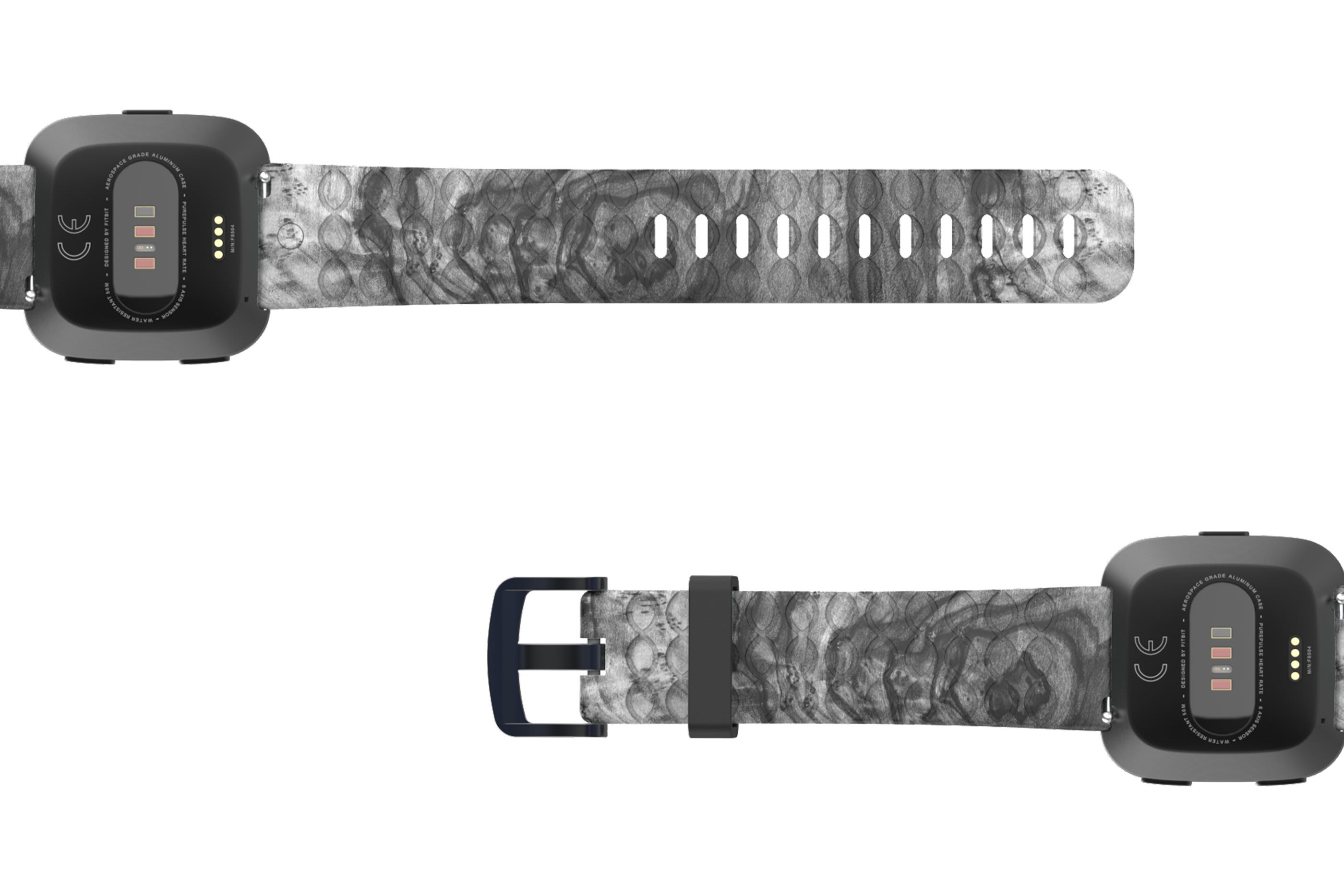 Nomad Relic Fitbit Versa   watch band with gray hardware viewed bottom up
