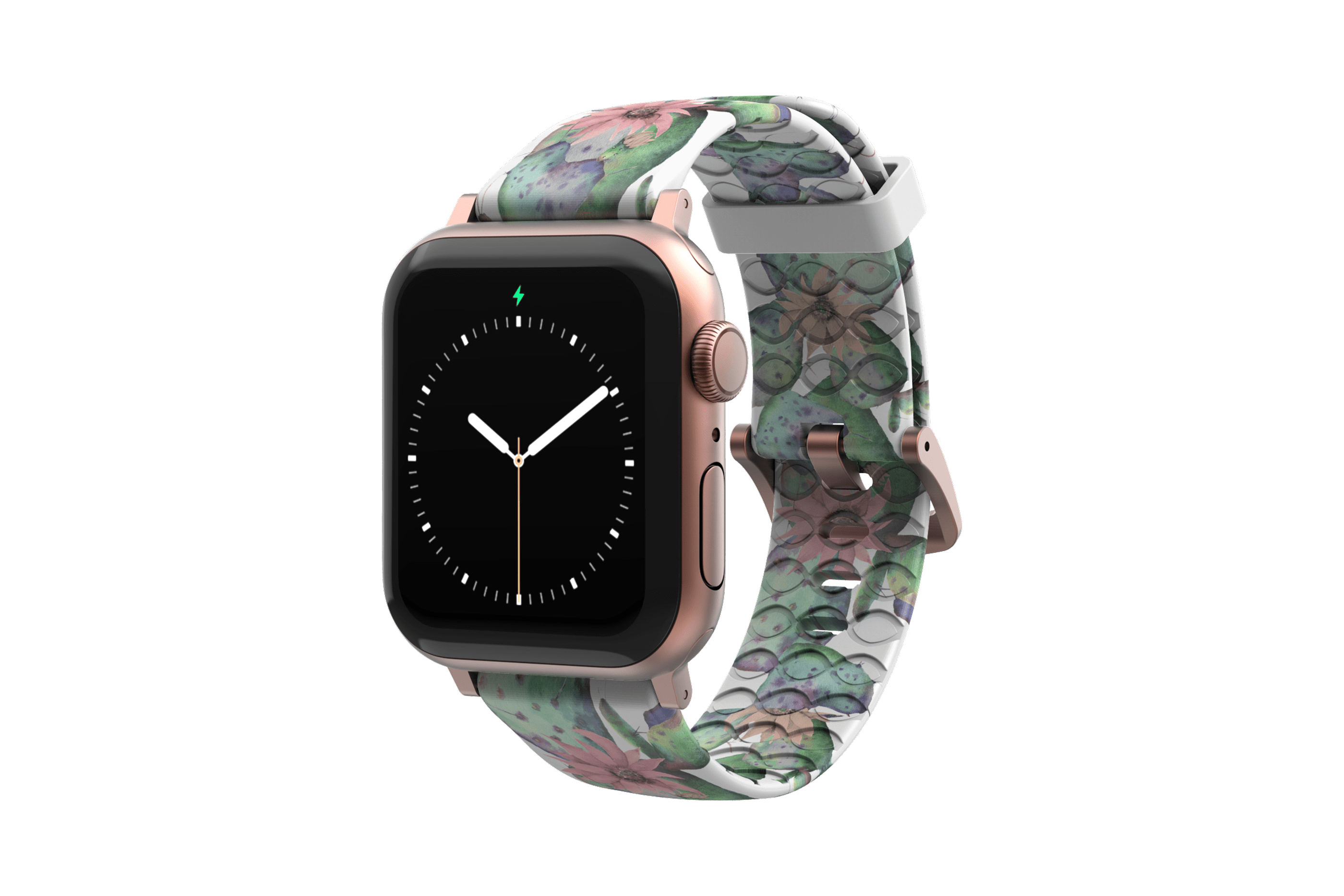 Cactus Bloom Apple Watch Band with rose gold hardware viewed front on