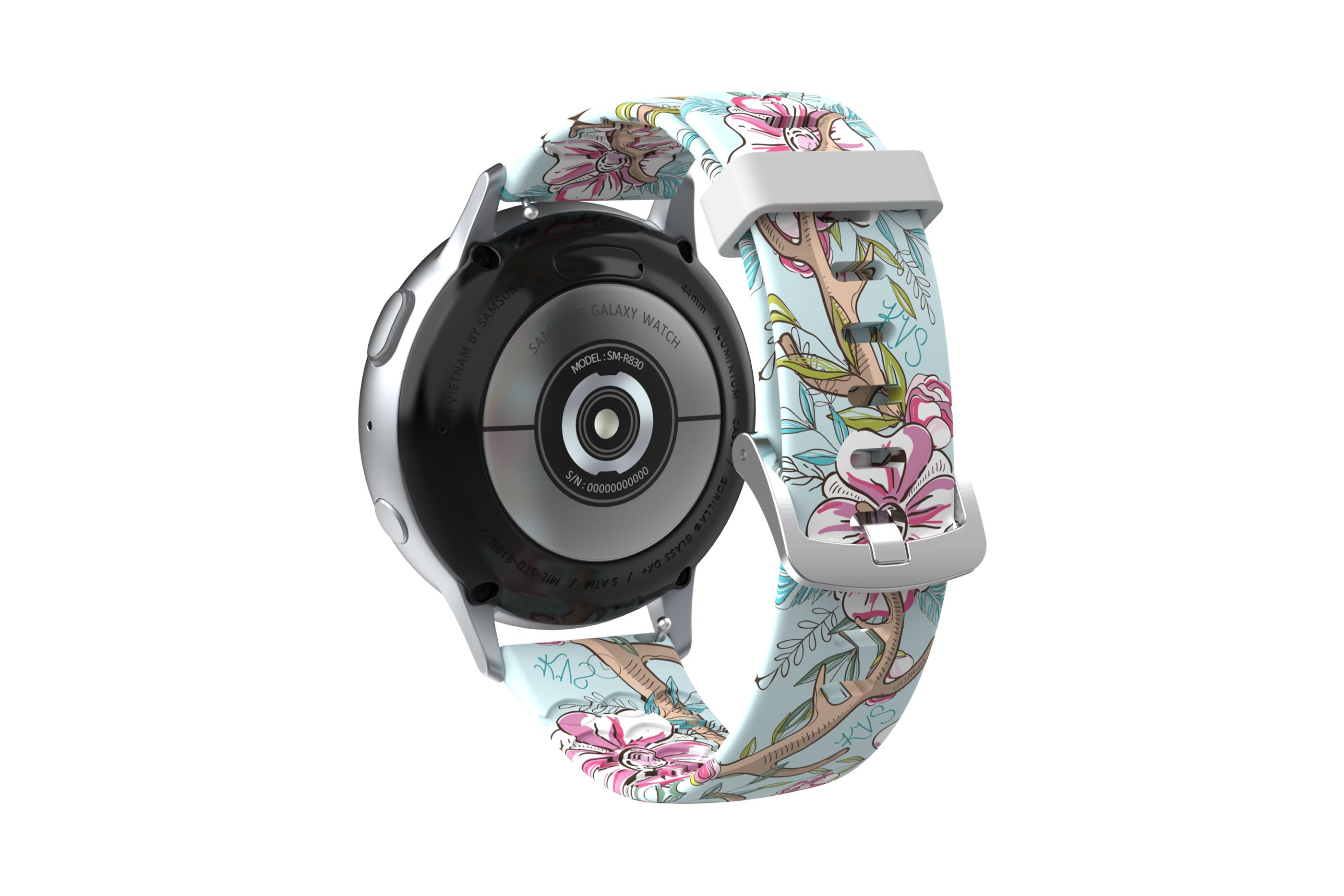 Love Deerly - Katie Van Slyke Samsung Watch Band with silver hardware viewed from rear