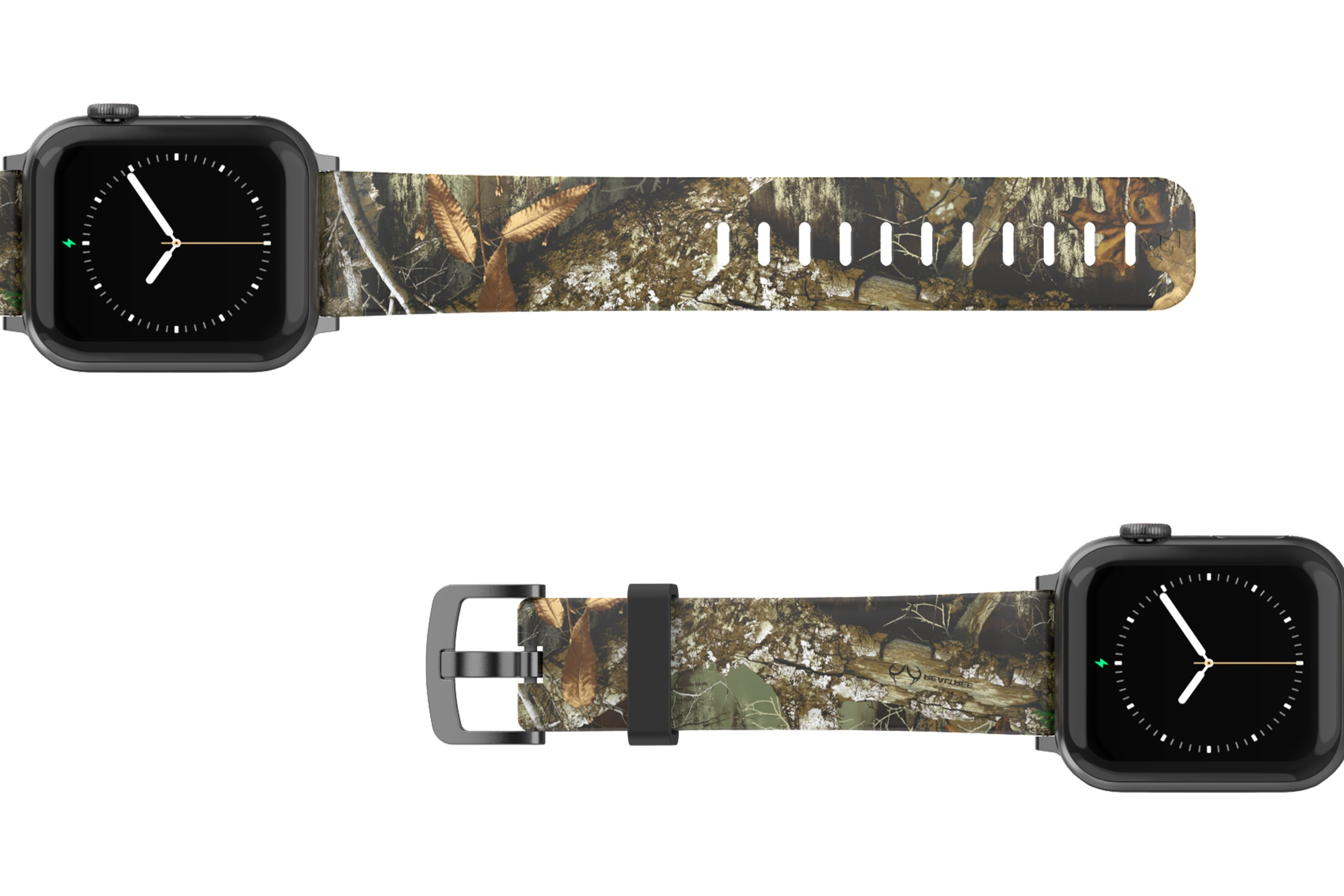 Realtree Edge Apple Watch band with gray hardware viewed top down