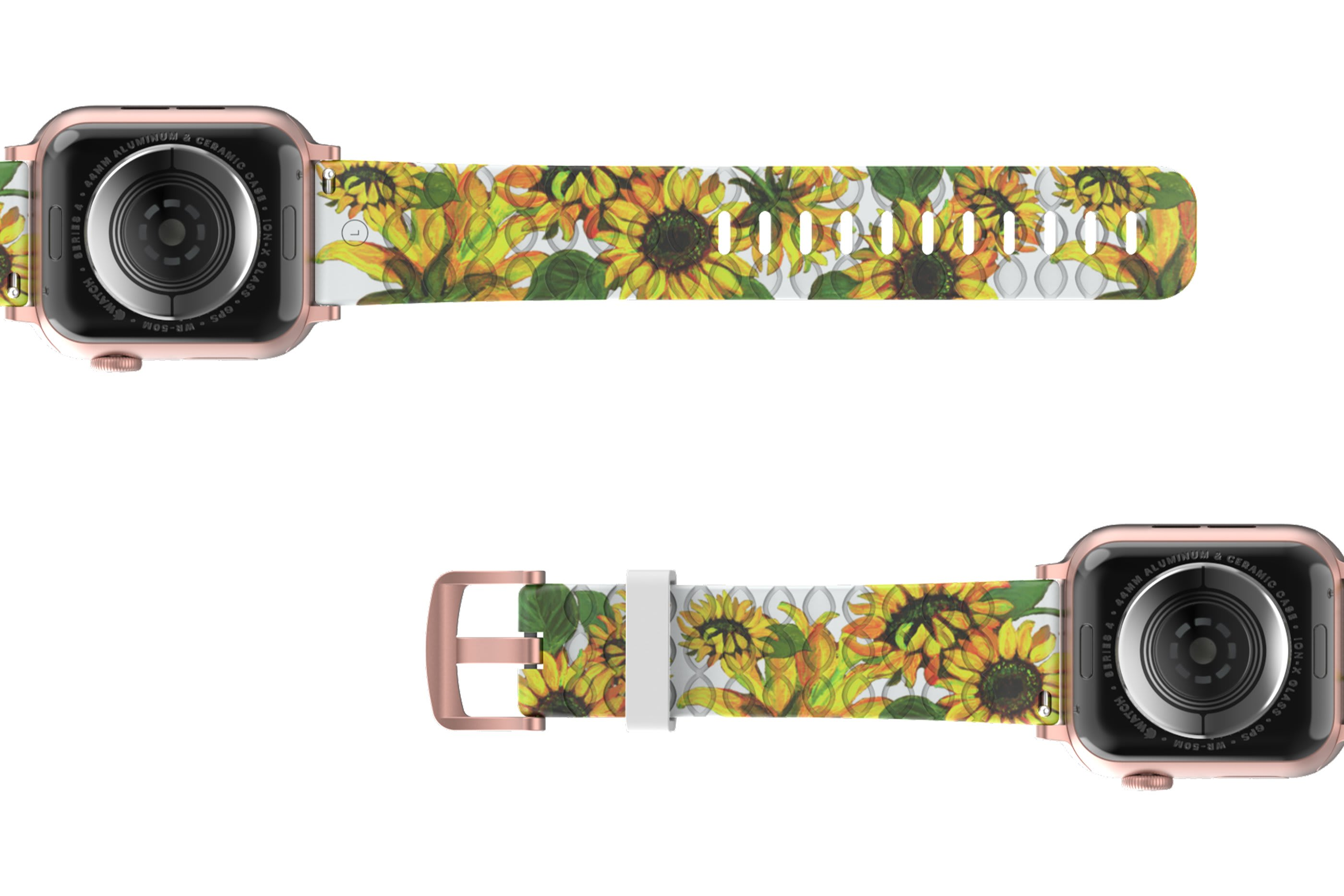 Sunflower Apple Watch Band with rose gold hardware viewed bottom up