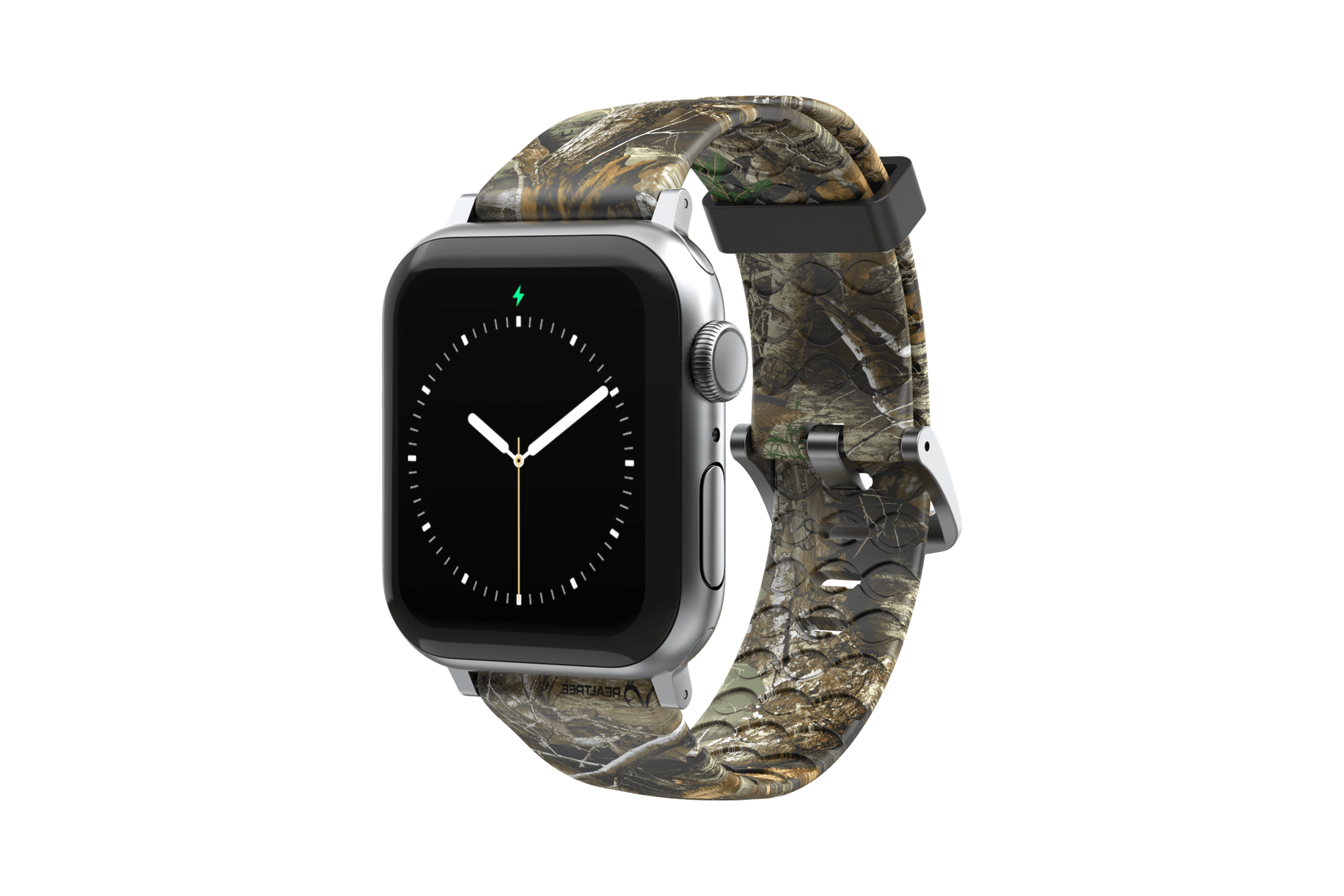 Realtree Edge Apple Watch Band with silver hardware viewed front on