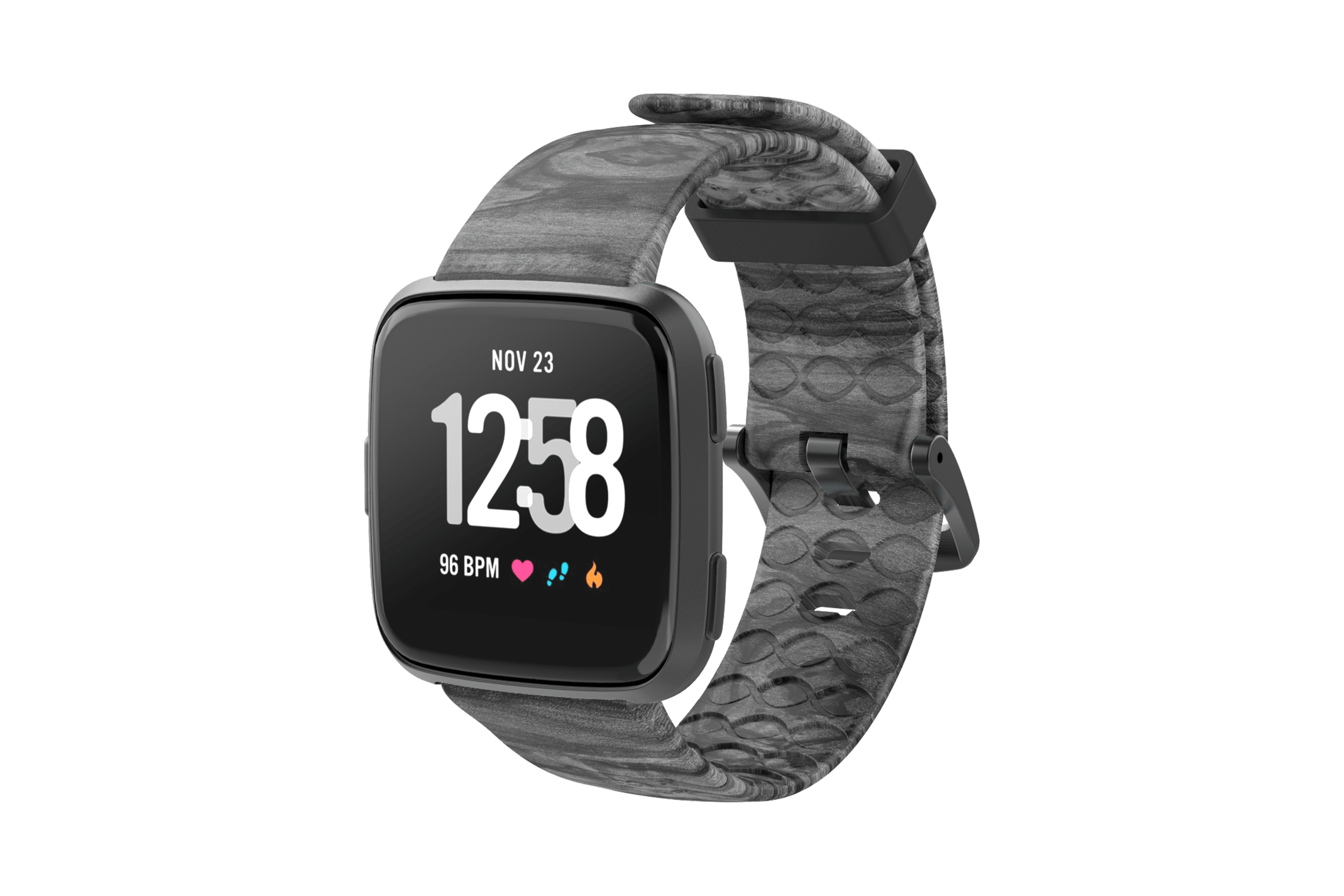 Nomad Relic Fitbit Versa Watch Band with gray hardware viewed front on