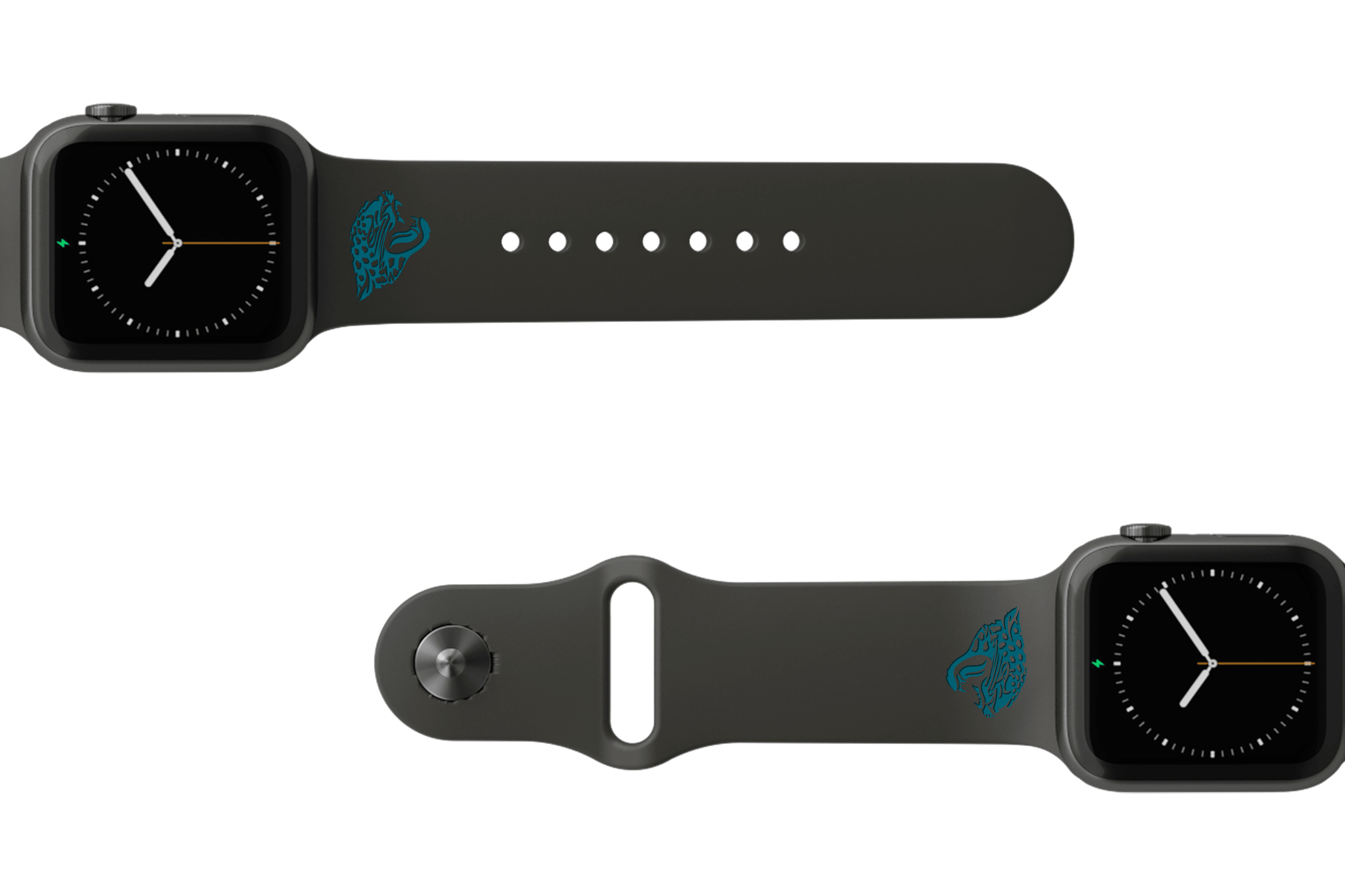NFL Jacksonville Jaguars Black   apple watch band with gray hardware viewed from top down