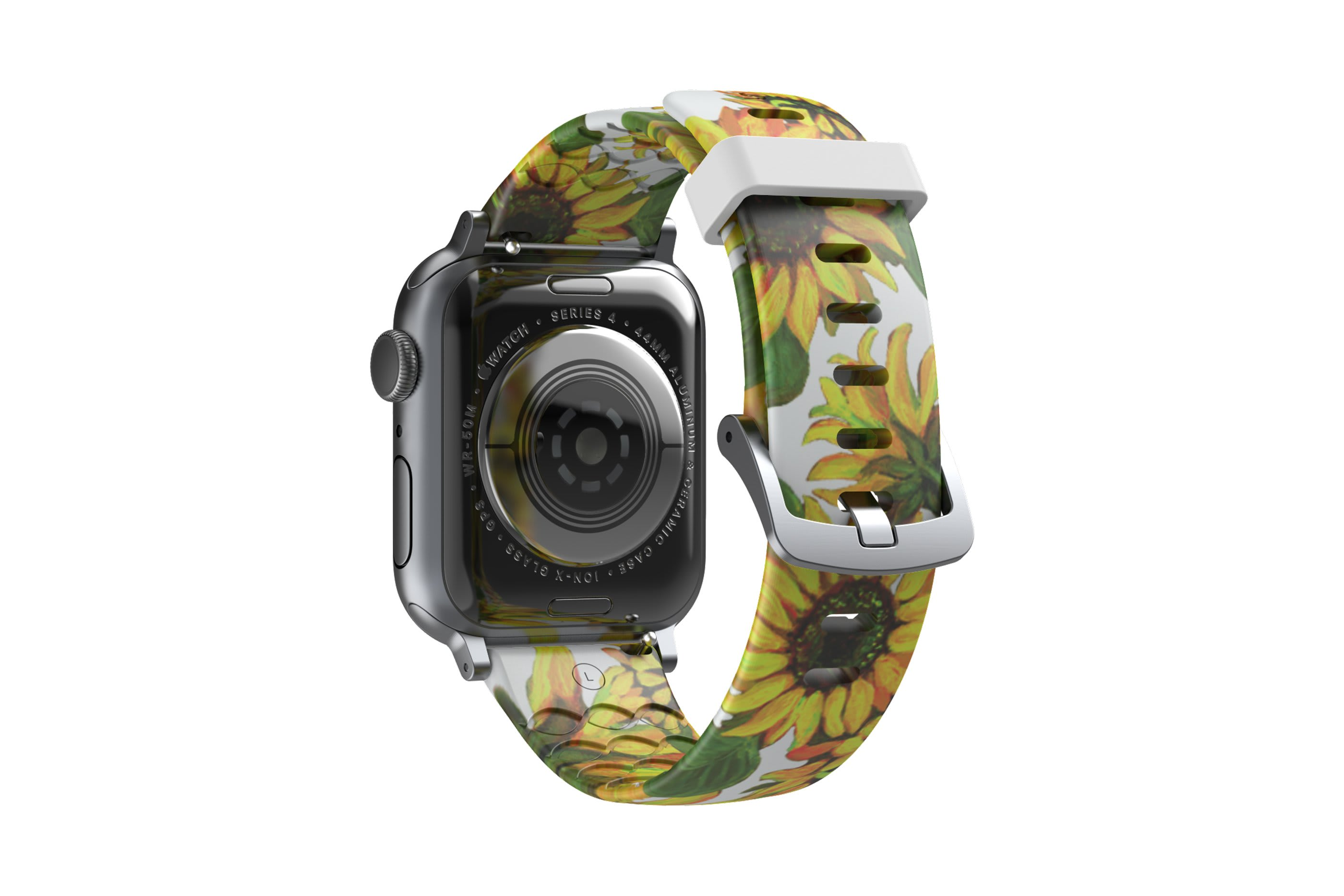Sunflower Apple Watch Band with silver hardware viewed from top down
