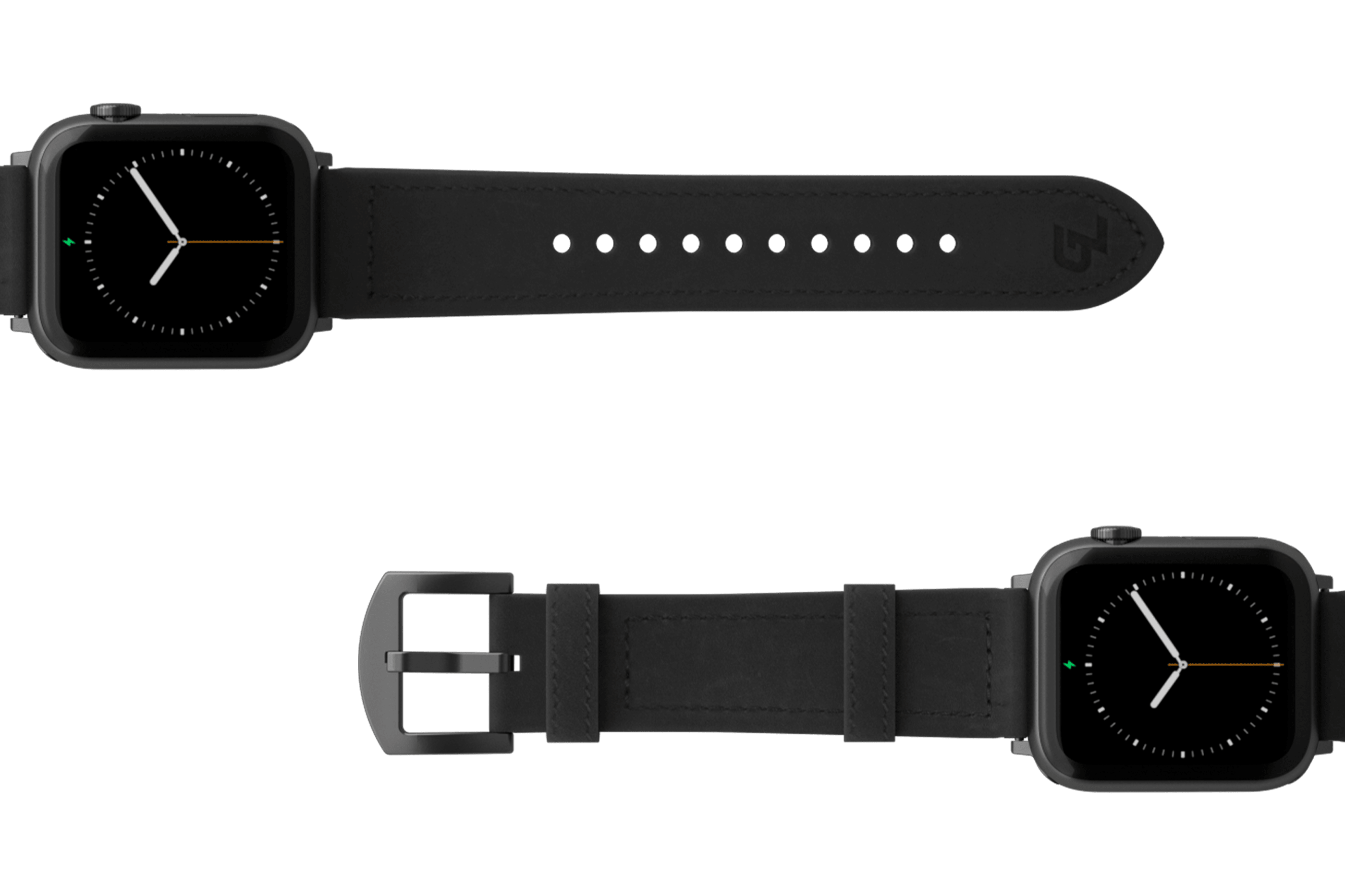 Vulcan Obsidian Black Leather Apple watch band  with gray hardware viewed top down