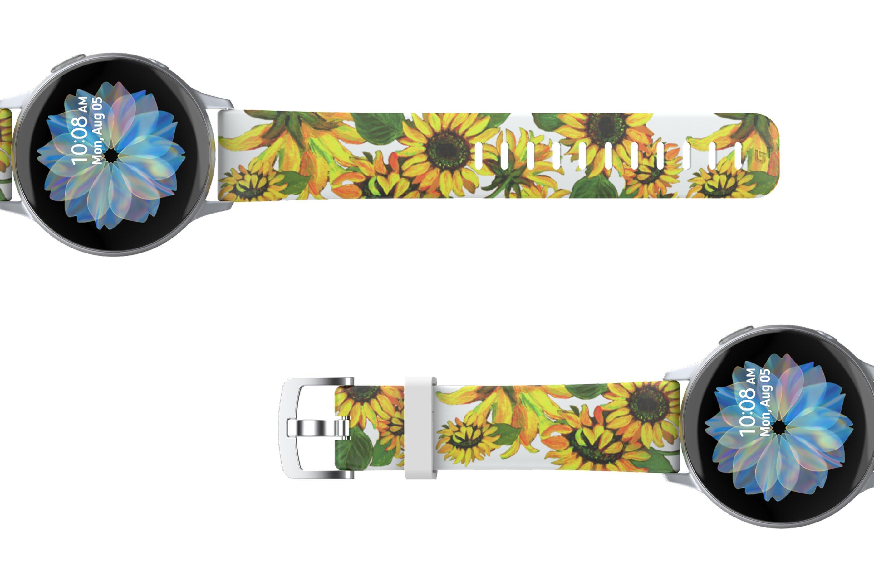 Sunflower Samsung 22mm watch band viewed top down