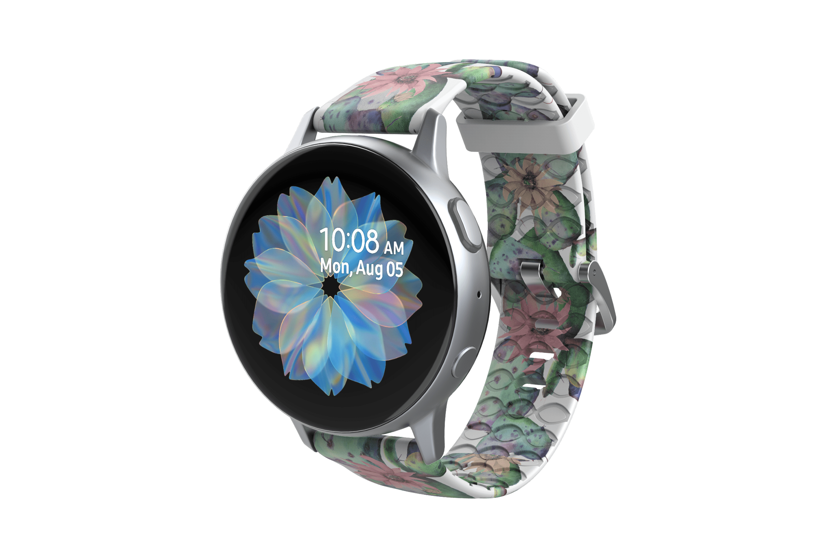 Cactus Bloom Samsung 22mm Watch Band with silver hardware viewed front on