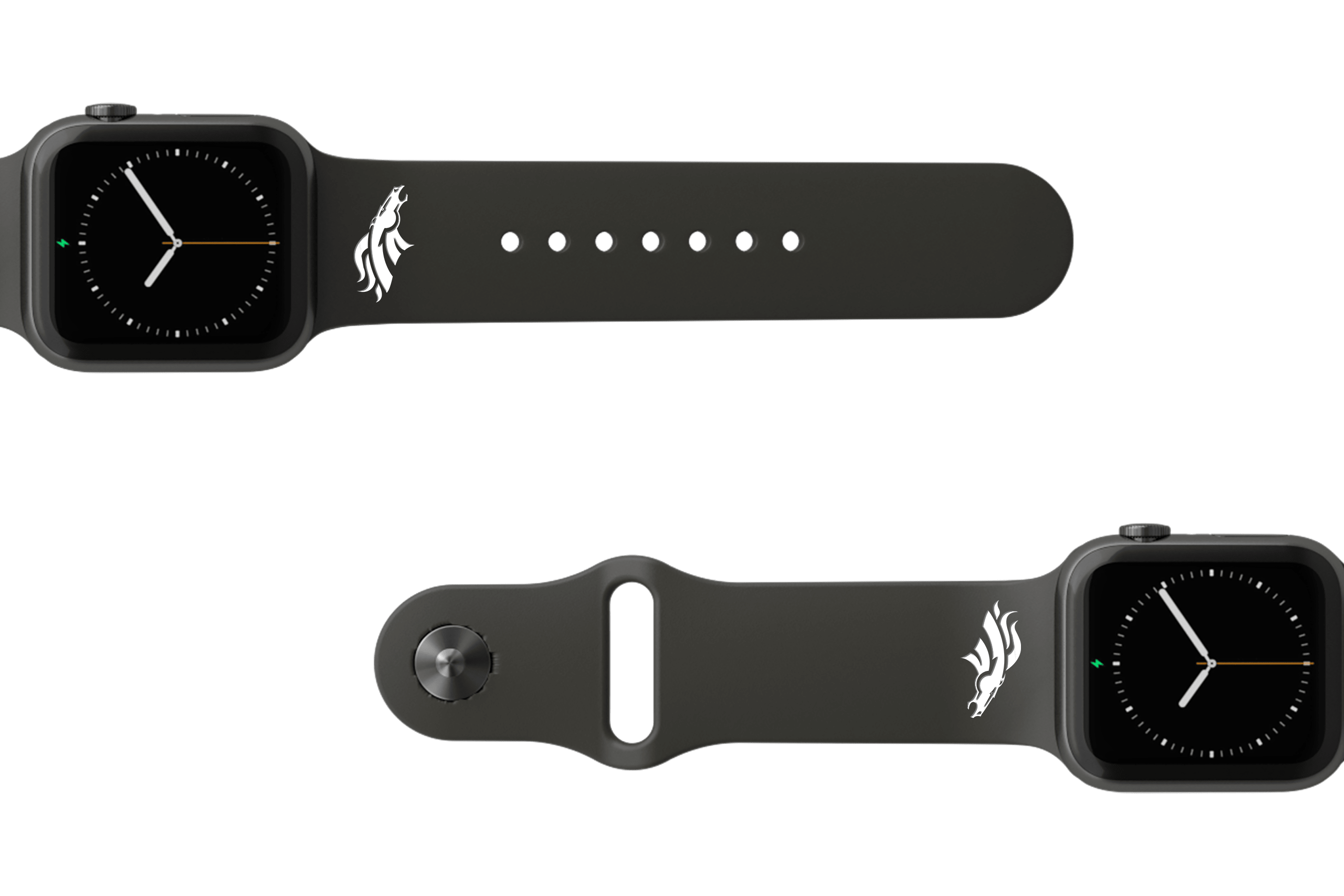 NFL Denver Broncos Black apple watch band with gray hardware viewed from top down