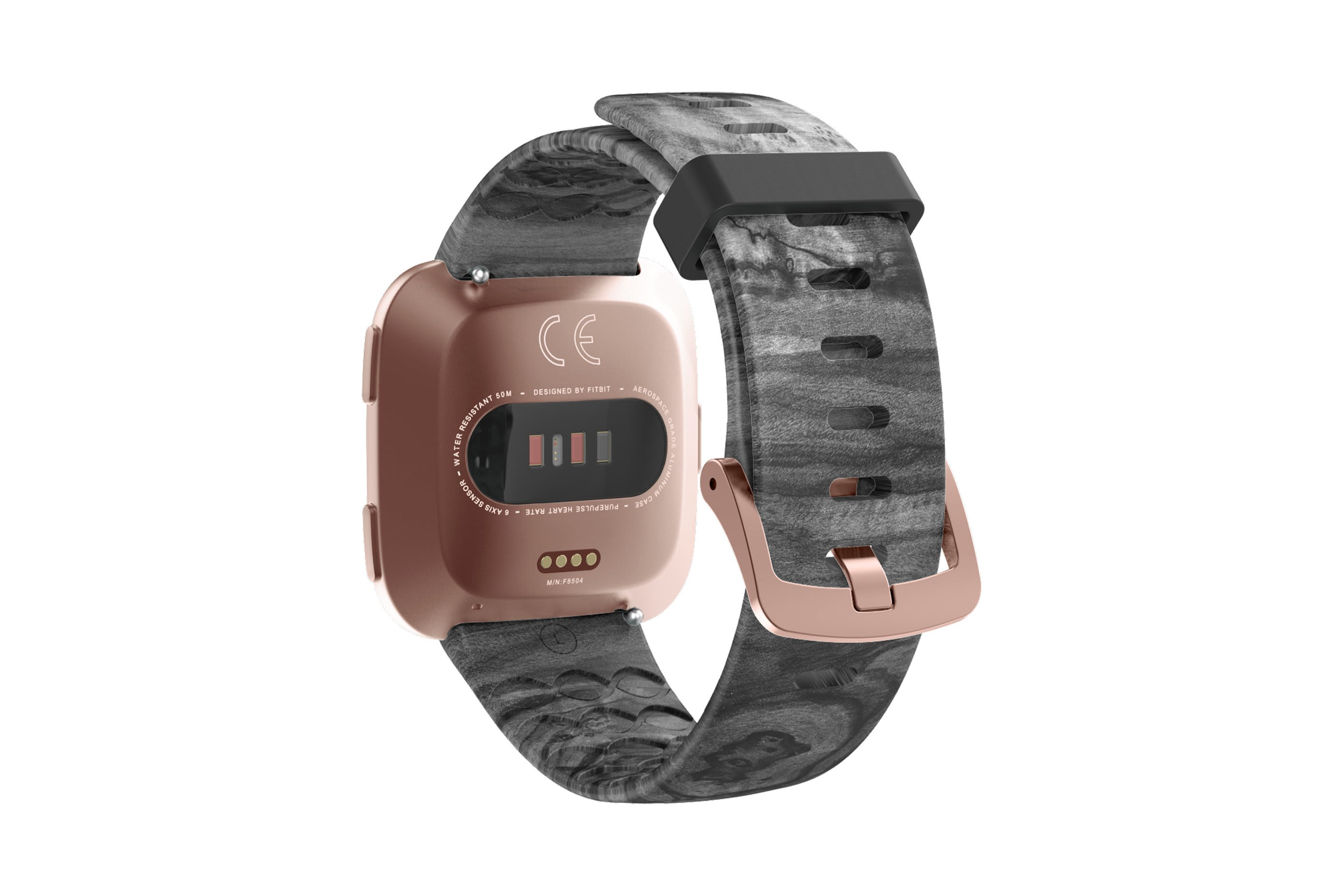 Nomad Relic fitbit versa watch band with rose gold hardware viewed from top down