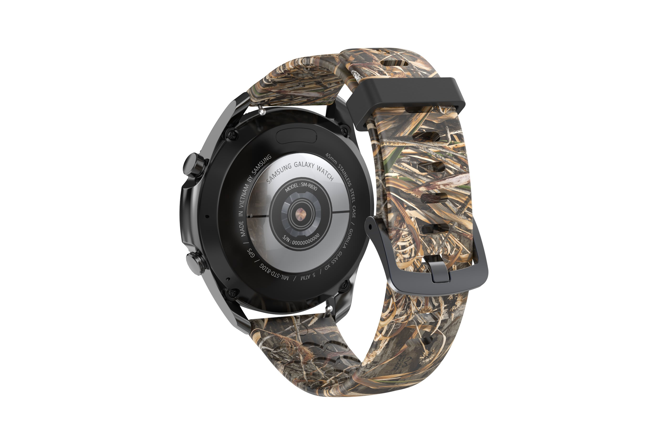 Realtree Max 5  Samsung 22mm watch band with gray hardware viewed from rear