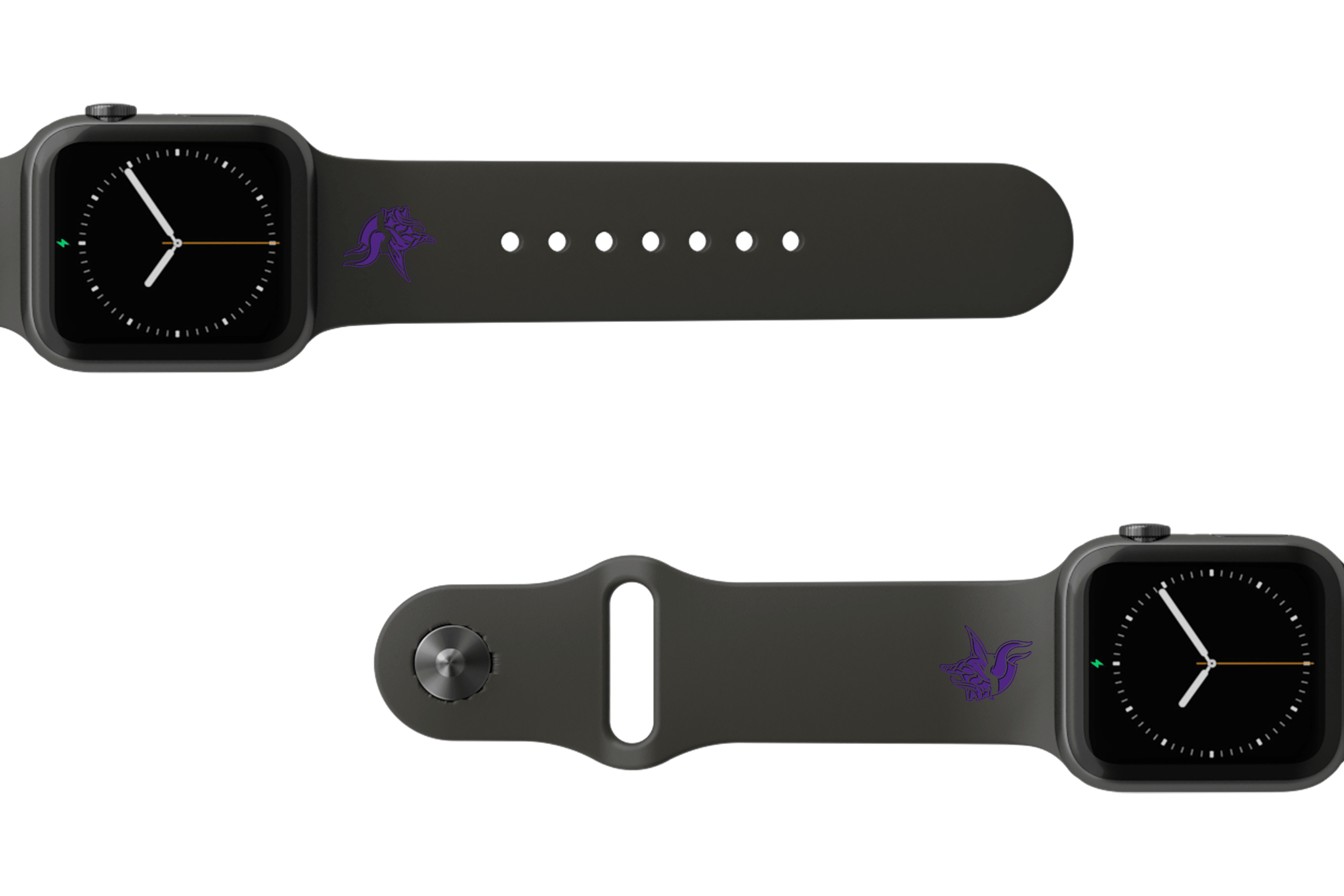 NFL Minnesota Vikings Black  apple watch band with gray hardware viewed from top down