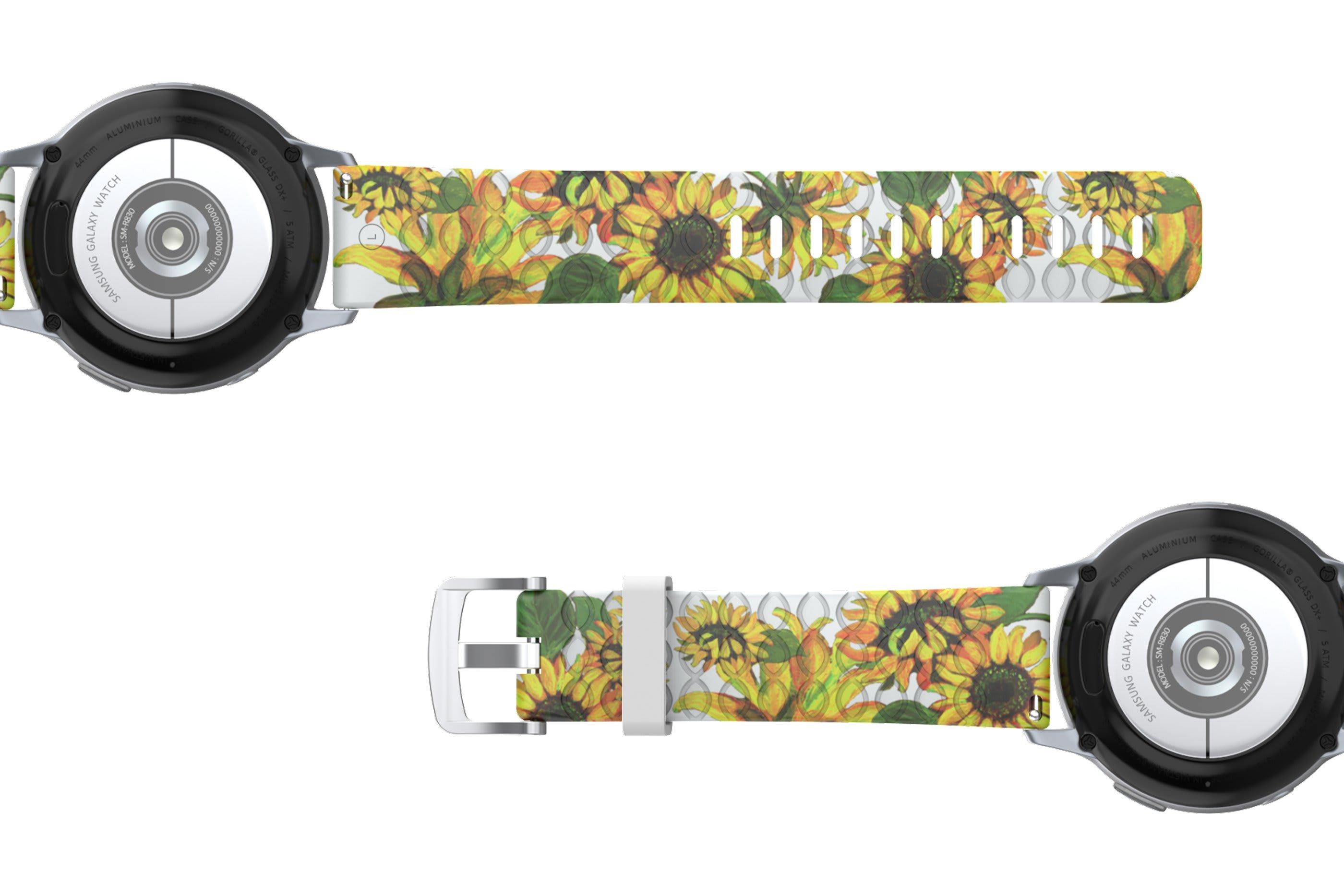 Sunflower Samsung 22mm   watch band viewed bottom up